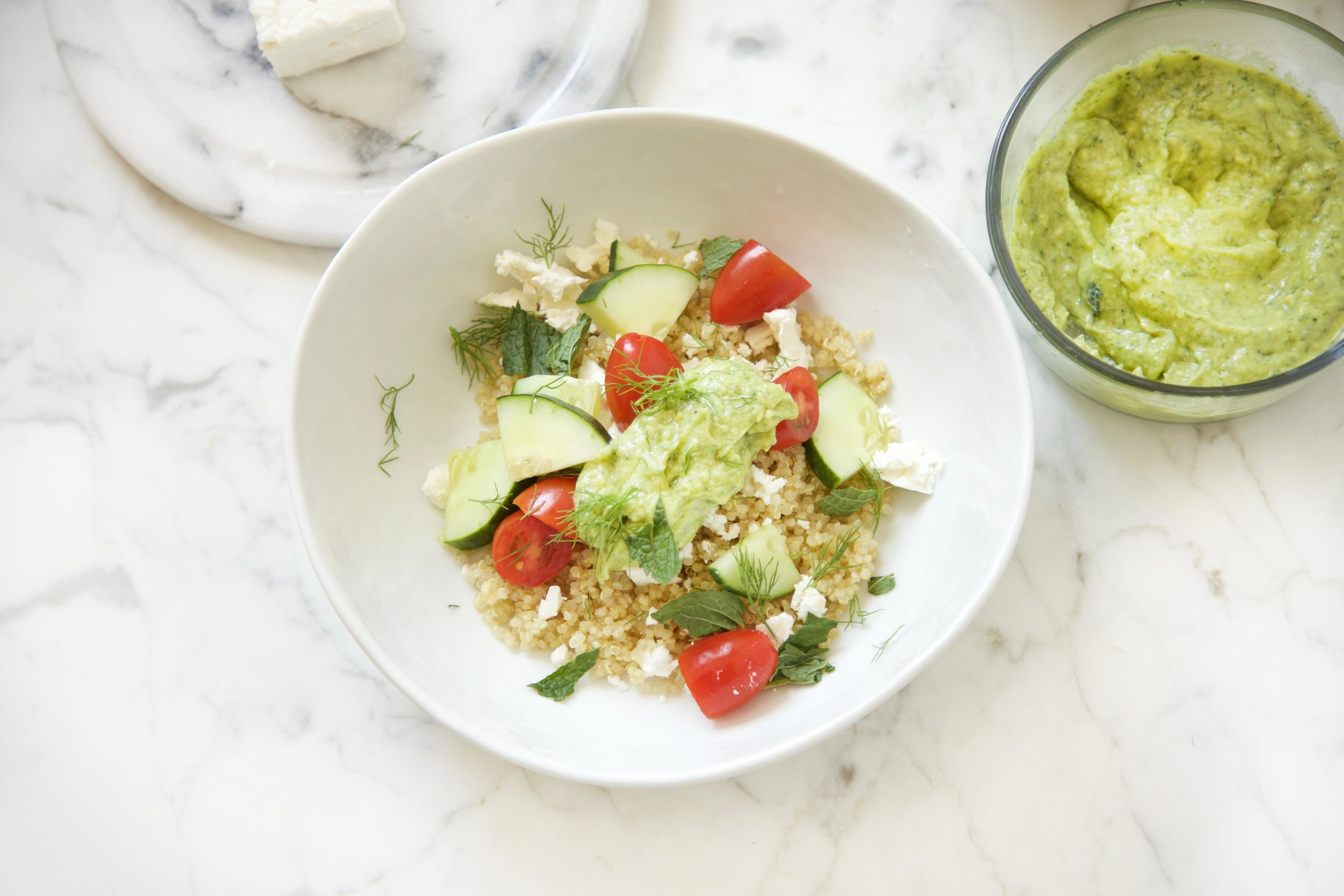 Quinoa with Herby Avocado Tahini Cream and Summer Vegetables