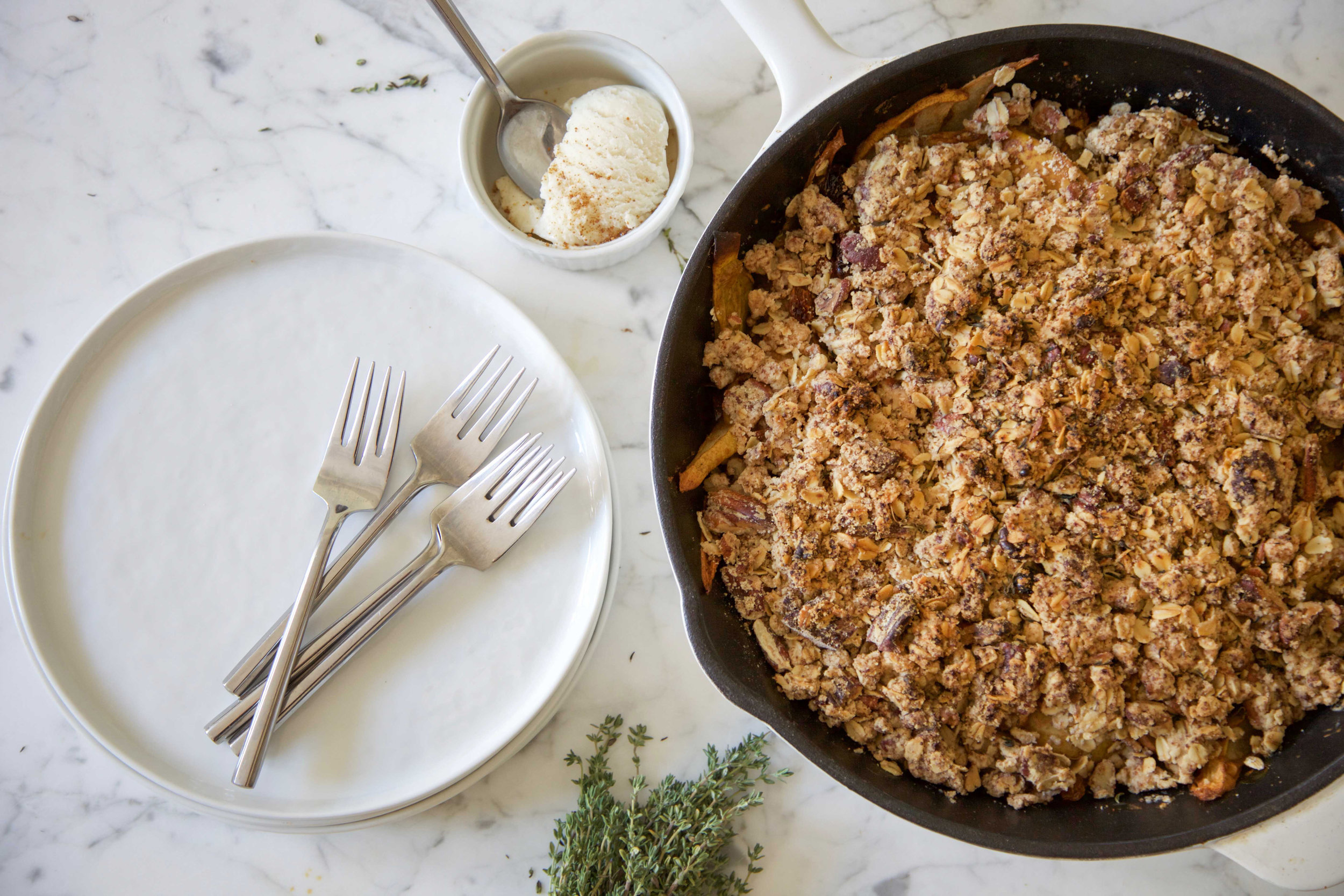Vegan Pear Crumble with Thyme