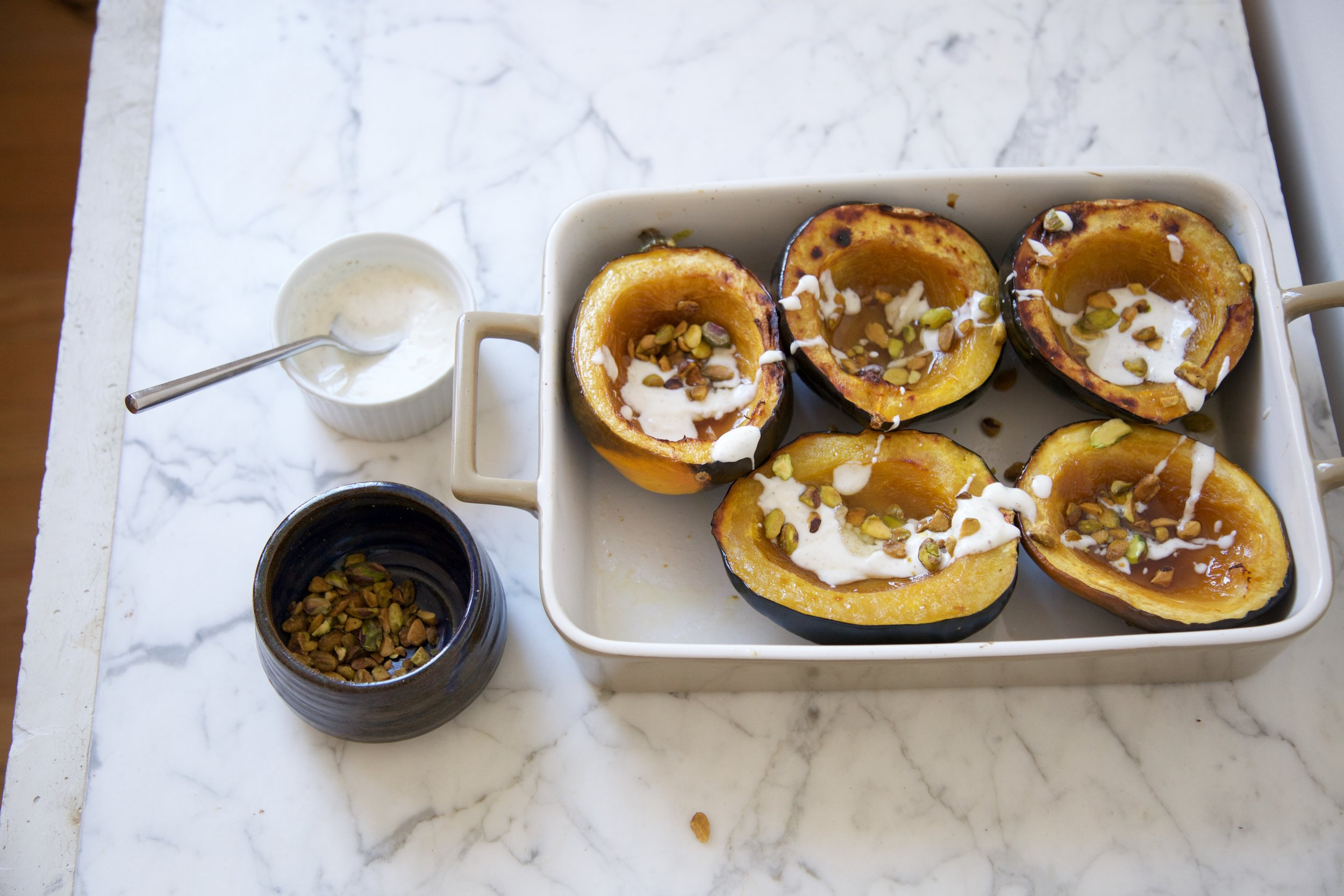 Acorn Squash with Chai Yogurt