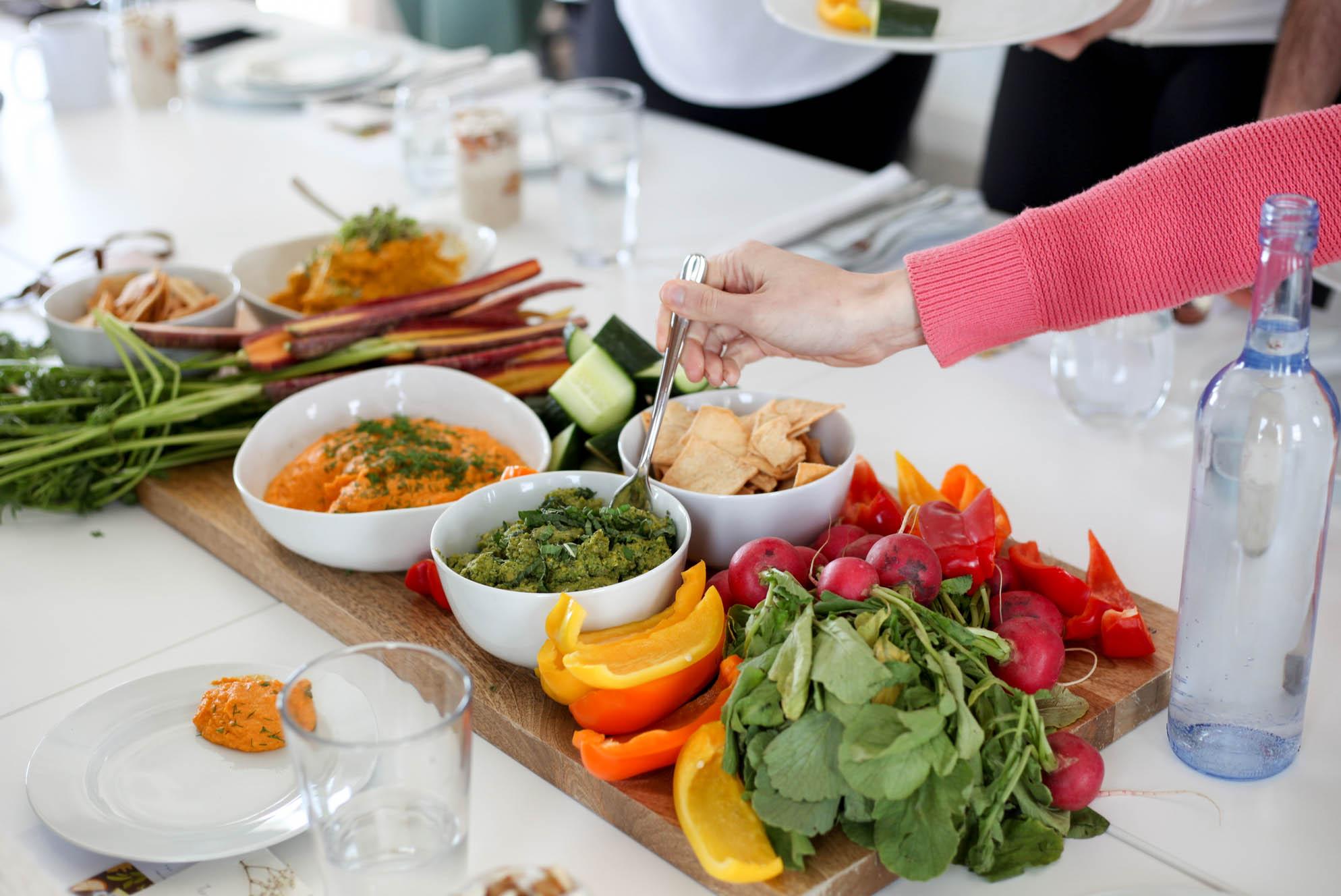 Crudite with Hummus and Broccoli pesto