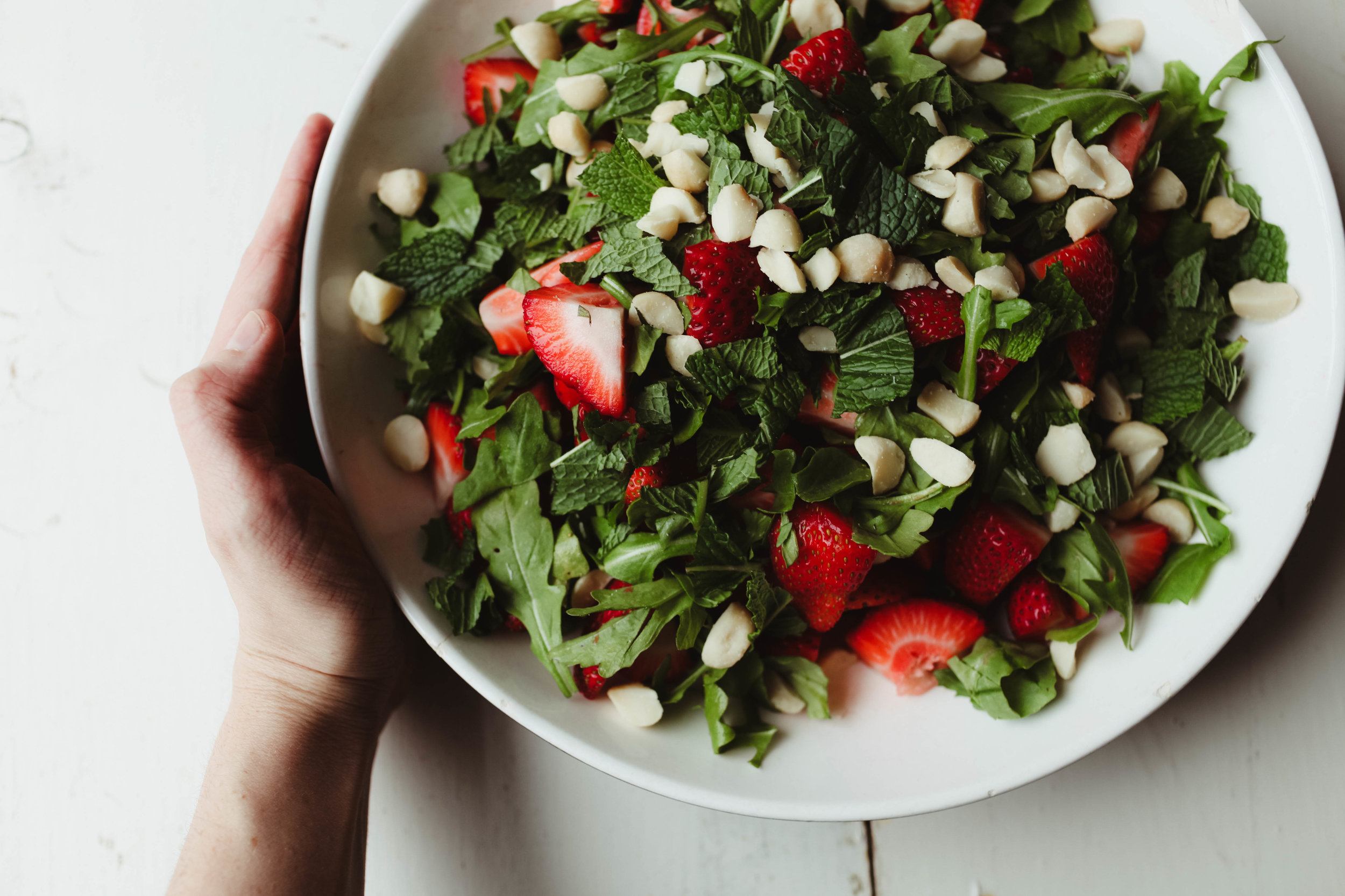 Strawberry Salad with Macadamia Nuts, mint and lime honey