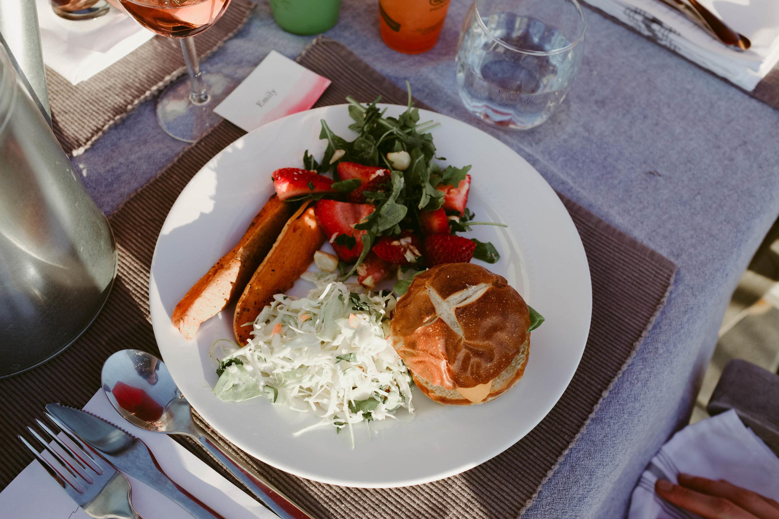 dinner plate // sweet potato burger, strawberry mint and macedamia nut salad, pickleback slaw, steak fries