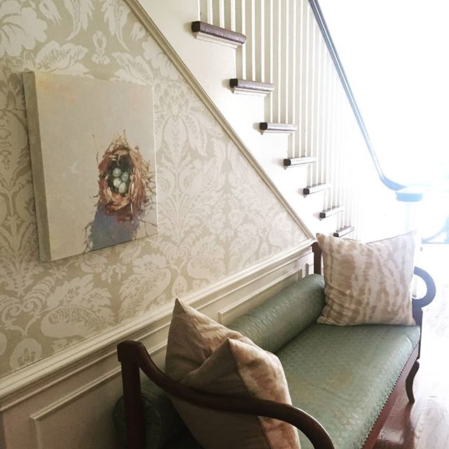 I love when clients send me photos of my work in their homes. Thanks Karen! 💕 . . #nested #oilpainting #oilonlinen #studiowork #originalworks #contemporaryart #raleighartist #ncartist #cltnc #murphyayalapaintings  #murphyayalafineart