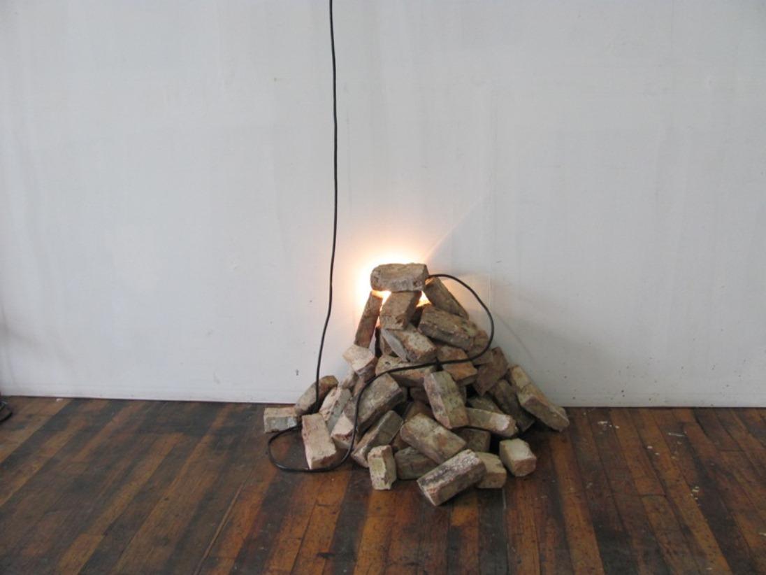 Robert Sebanc 54 Bricks 2013 120 x 30 x 30 x 21 Bricks W Light and cord.JPG
