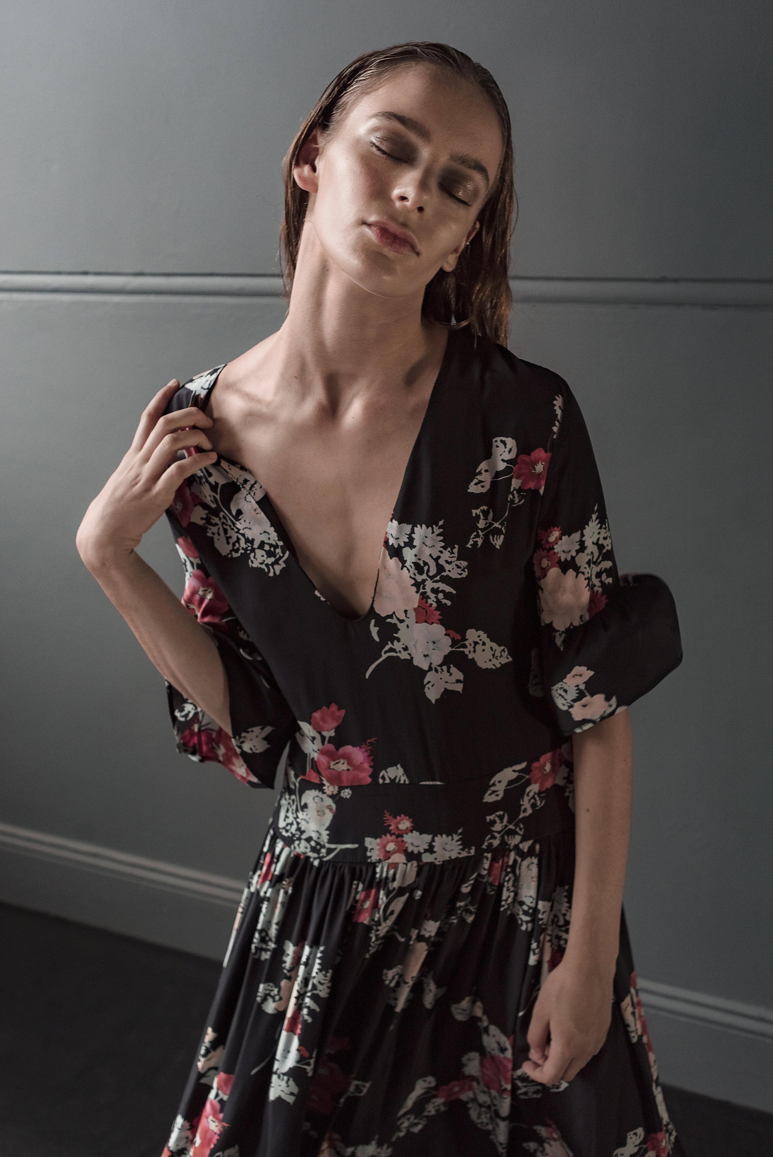 Featured:  Matin: Floral Print V-Neck Dress