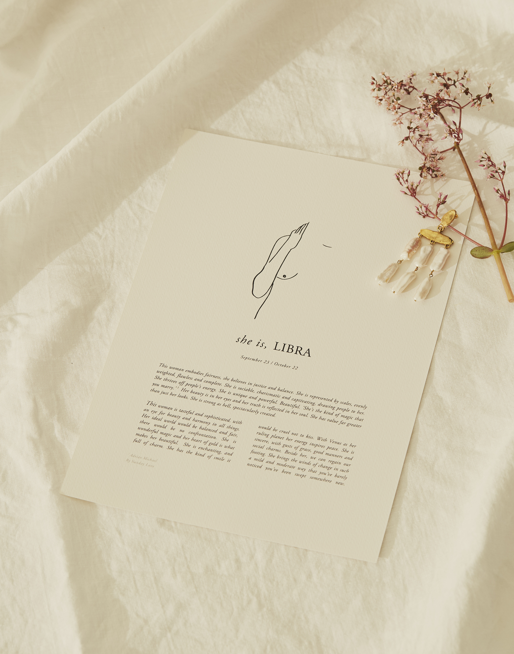 'The Zodiacs' prints from Sunday Lane Studio, a simple and poetic celebration of self.