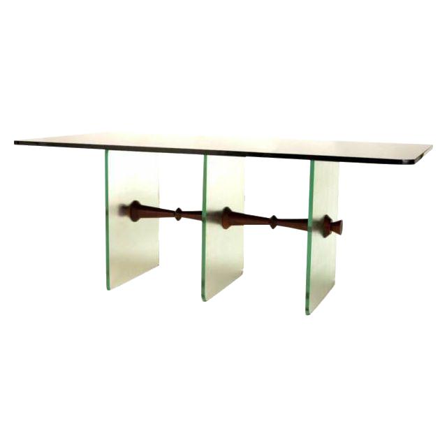 Black Vitrolite Glass Dining Table