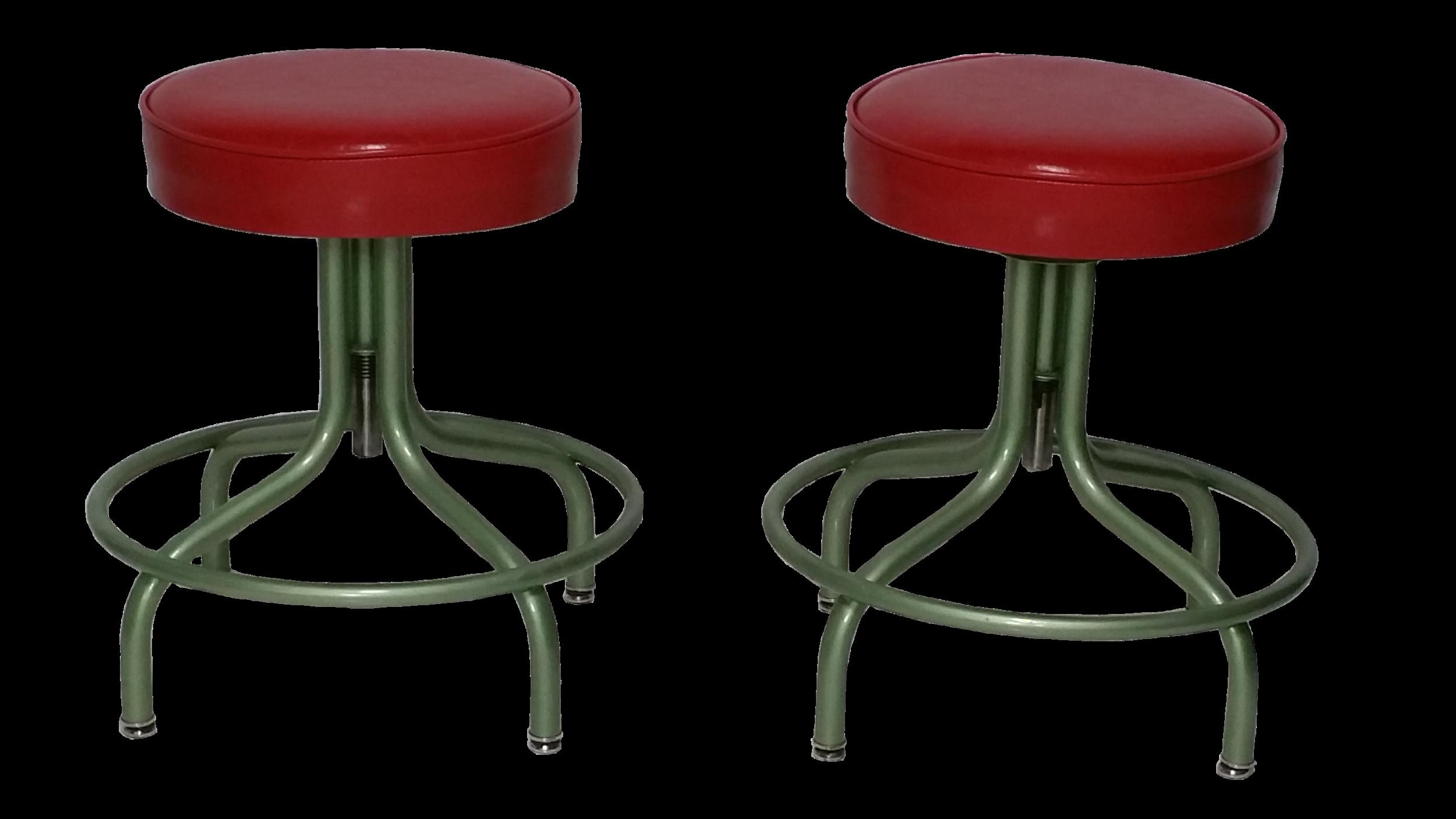 Pair of Vintage Steel Adjustable Stools