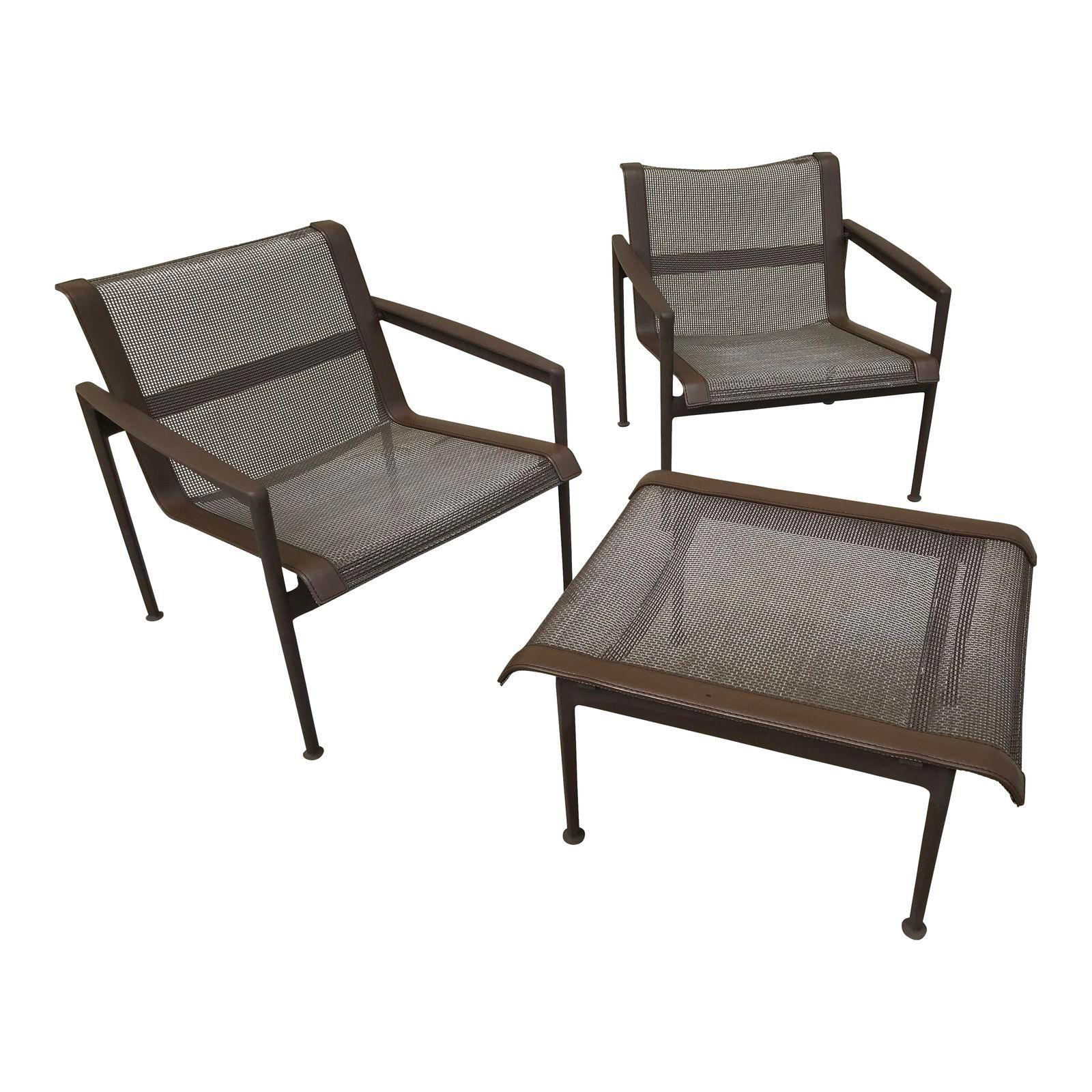 1966 Mid-Century Modern Richard Schultz for Knoll Lounge Chairs and Ottoman - 3 Pieces