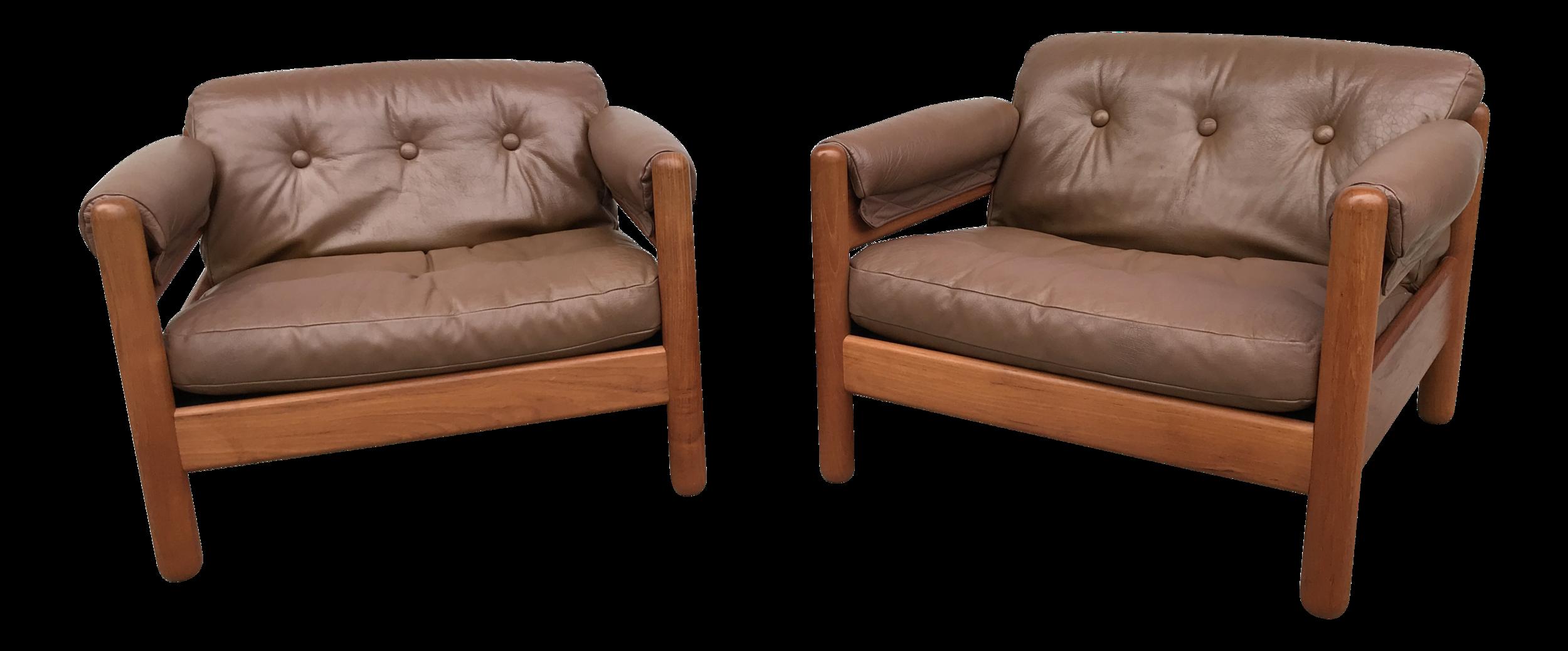 Pair of Makael Laursen Teak & Leather Danish Modern Lounge Chairs