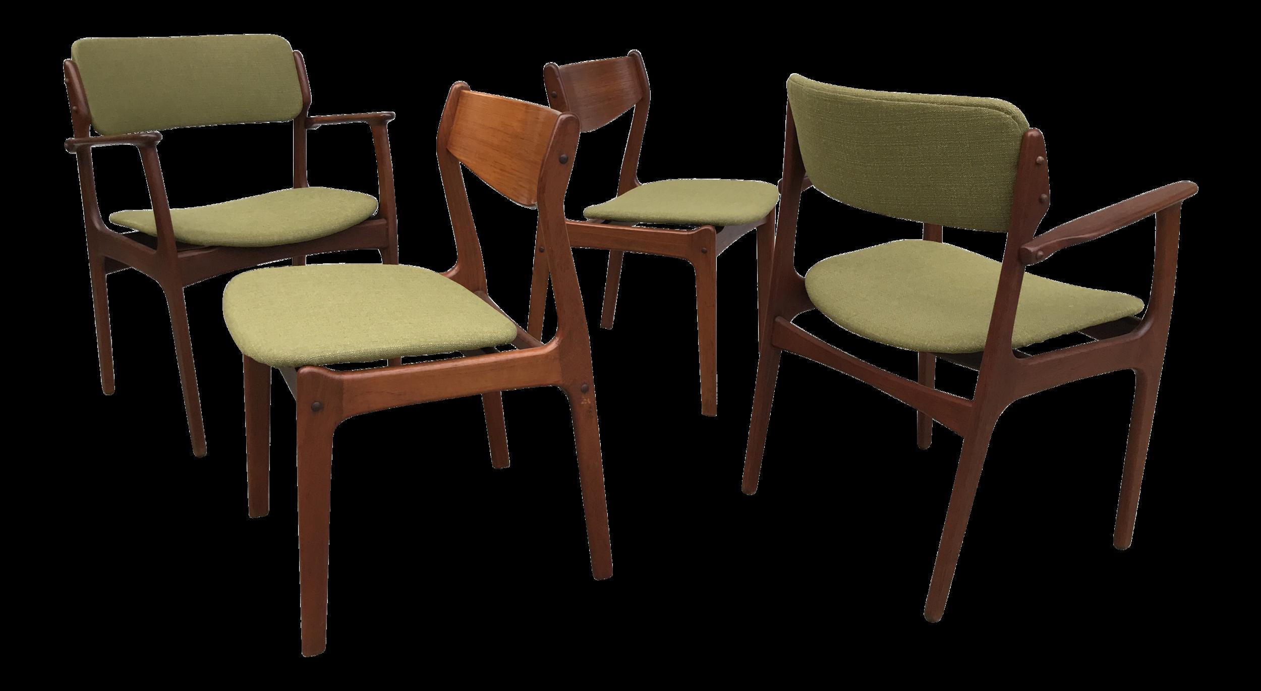 1950s Danish Modern Green Upholstred Teak Dining Chairs - Set of 4