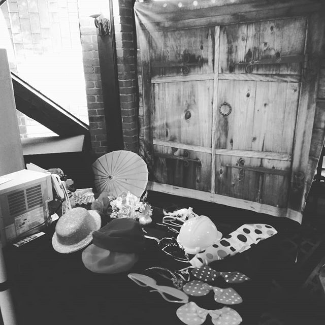 Here with @djpeterdoz as MC only and us creating fun in the booth with one of our new backdrops #innovating #photoboothwedding #photobooth @windmillgardensaria #fun #props