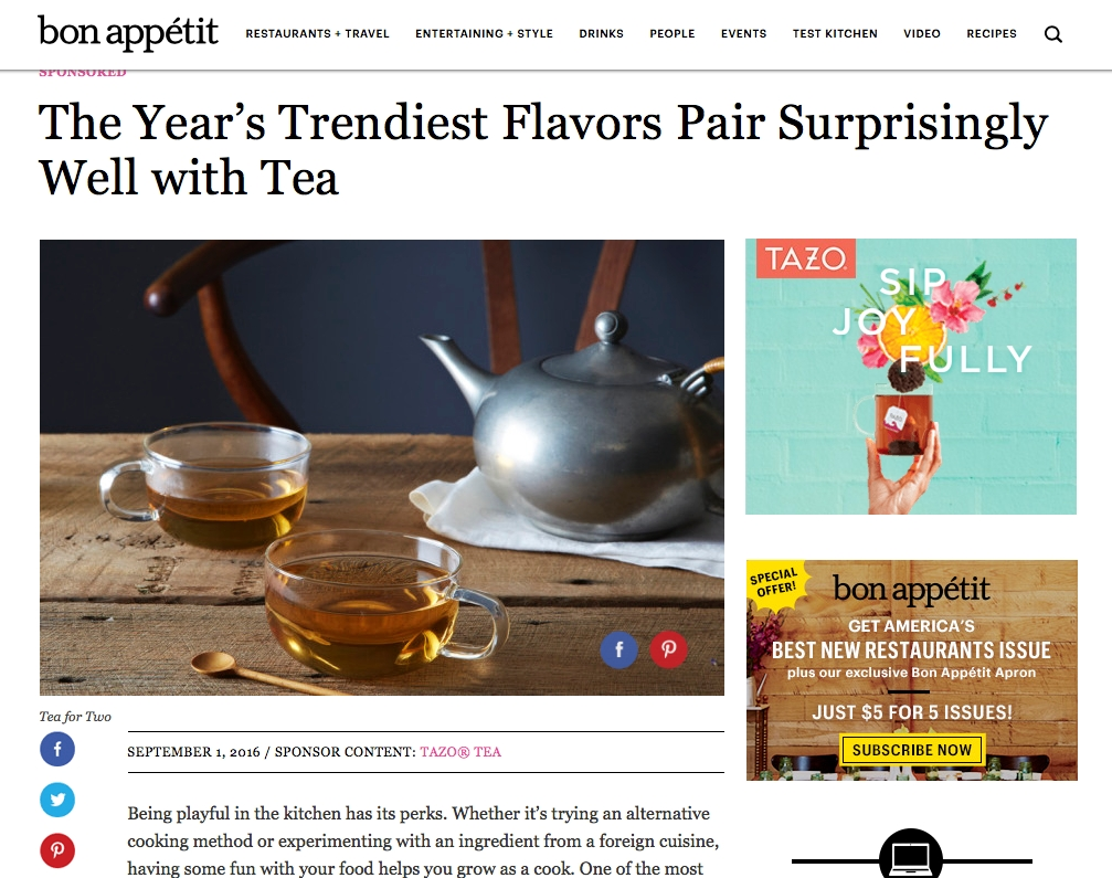 Digital and Print Magazines:   A Conde Nast media buy gave us native and sponsored articles, recipes tips and more with Bon Appetite and Elle magazines..