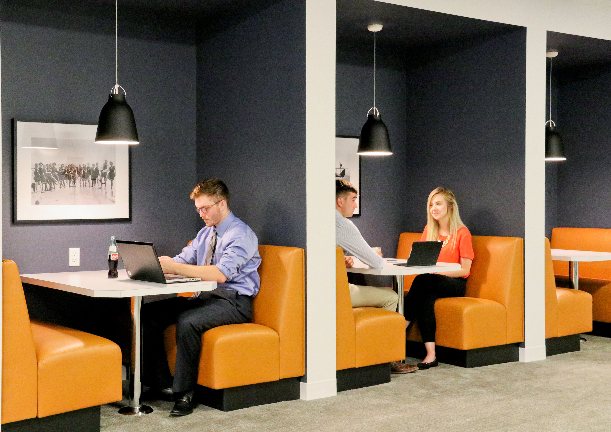 Work booths in the collaboration space