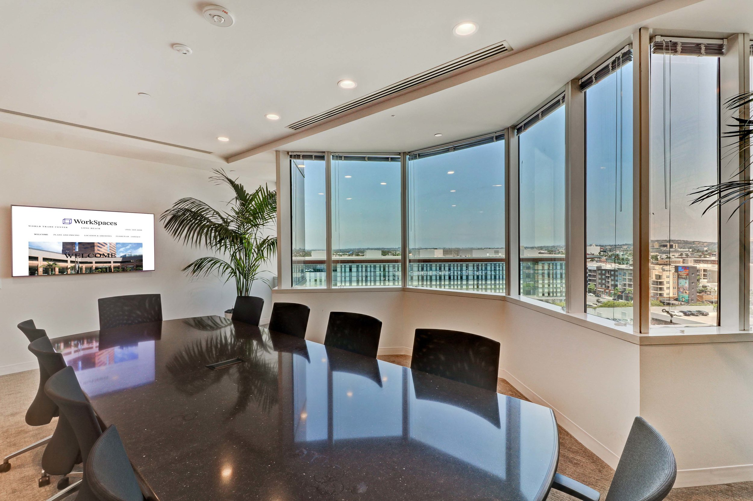 "Boardroom with with 57"" flatscreen for presentations"