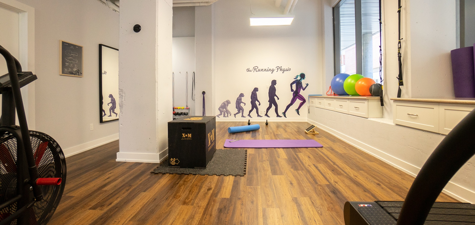 Gym space and treadmill