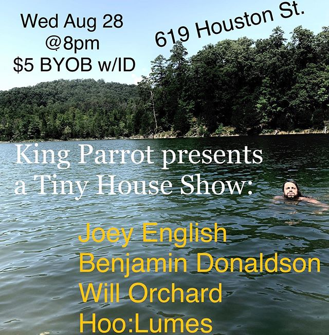 Some breaking news and new material... for real though these artists are fantastic. Wed Aug 28 @8pm BYOB w/ID  @ 619 Houston St.  @iambendonaldson @hoolumes and Will Orchard (Facebook).