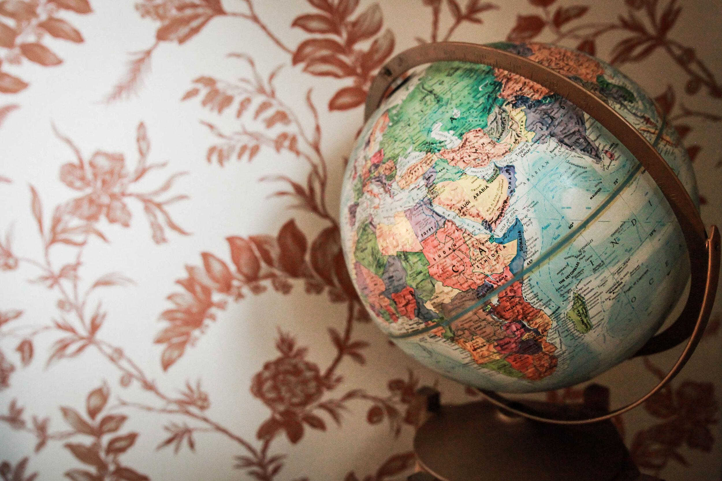 globe in front of wallpaper
