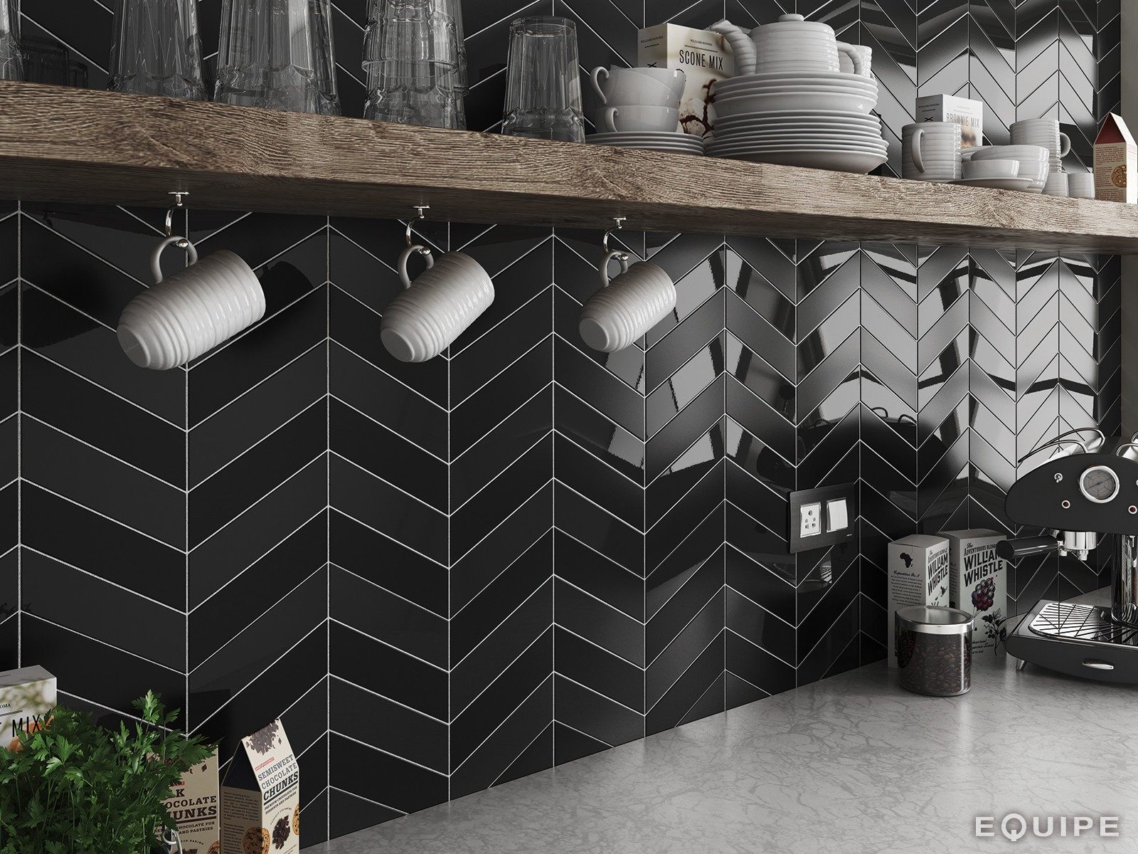 Dakota Tiles: Vancouver Chevron Black, White or Grey 52x186