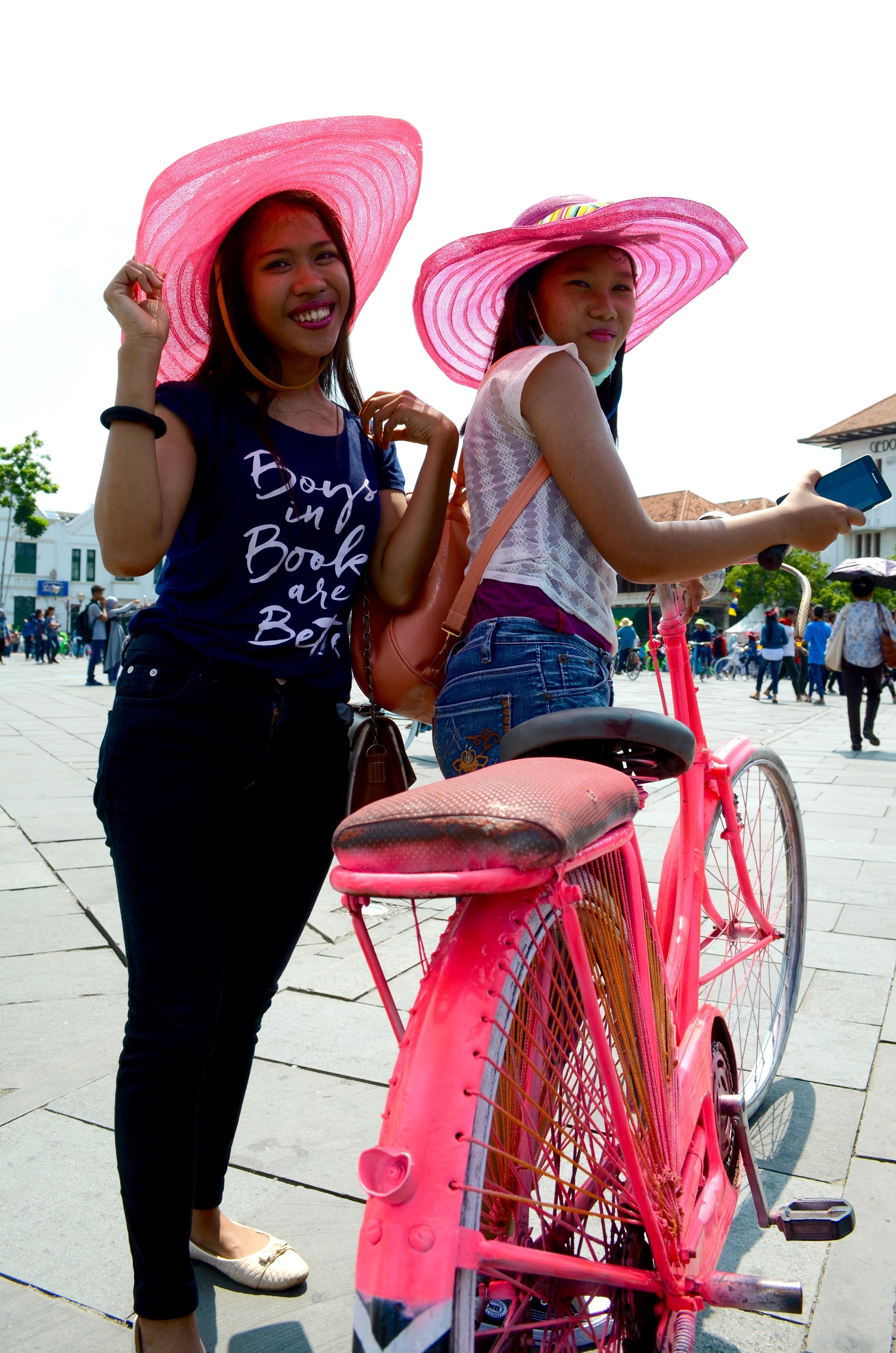 After school kids could rent colourful bicycles and matching hats to ride around in the square. It seemed to be a fun