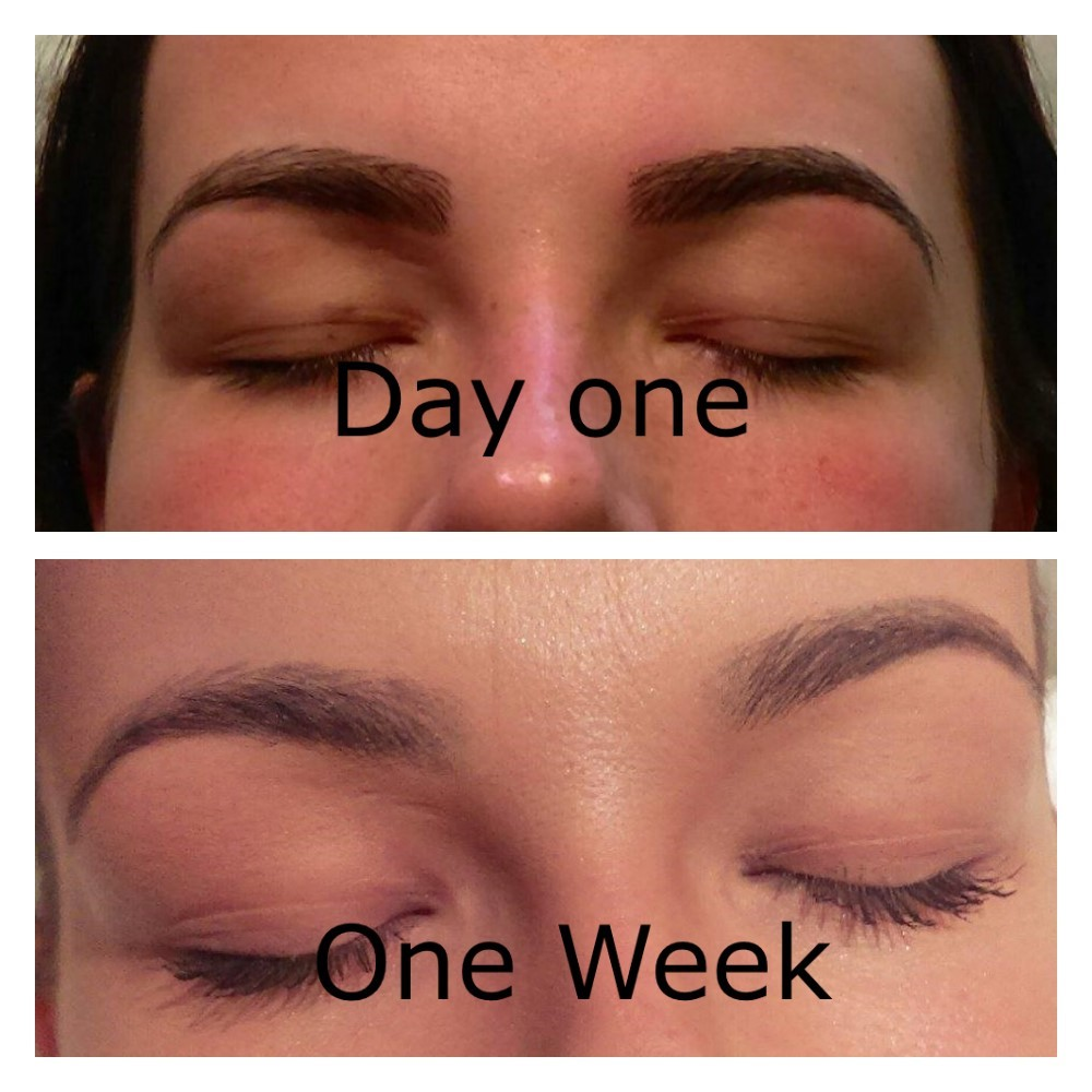 So it has been a week since I had the 6D microblading done with the fabulous Greta and I couldn't be happier with the results!!! :D As you can see from the pictures they have settled down now and look so natural. They were a little bit flackey for 3 days but not what I expected at all! I have my check-up appointment in 3 week's to fill in any little gaps that are left and I will have gorgeous eyebrows for up to 18 months :) I would recommend anyone with patchy or even no eyebrows to get these done! I love them <3