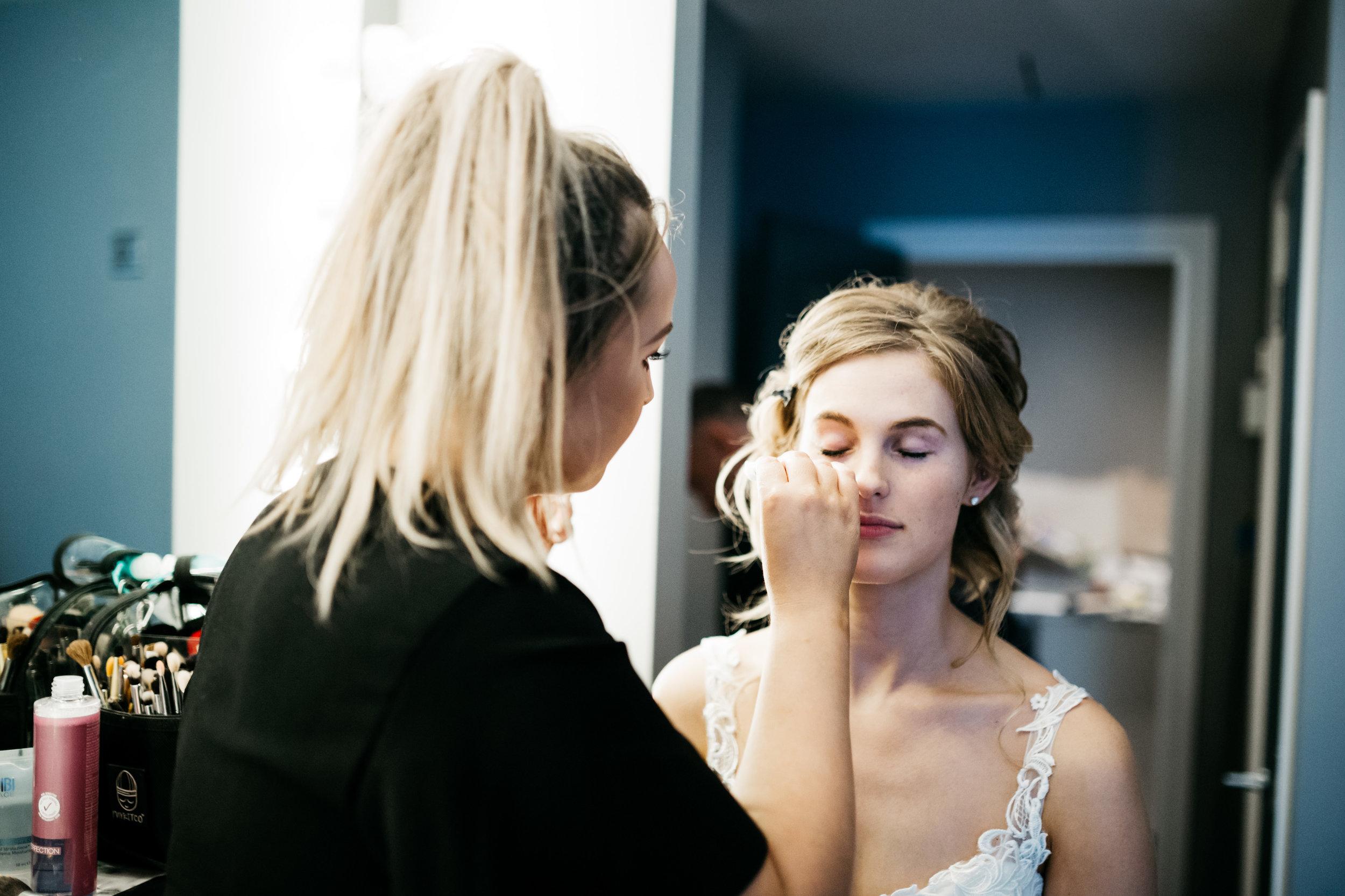 wedding bride having hair and make up at la mode.jpg
