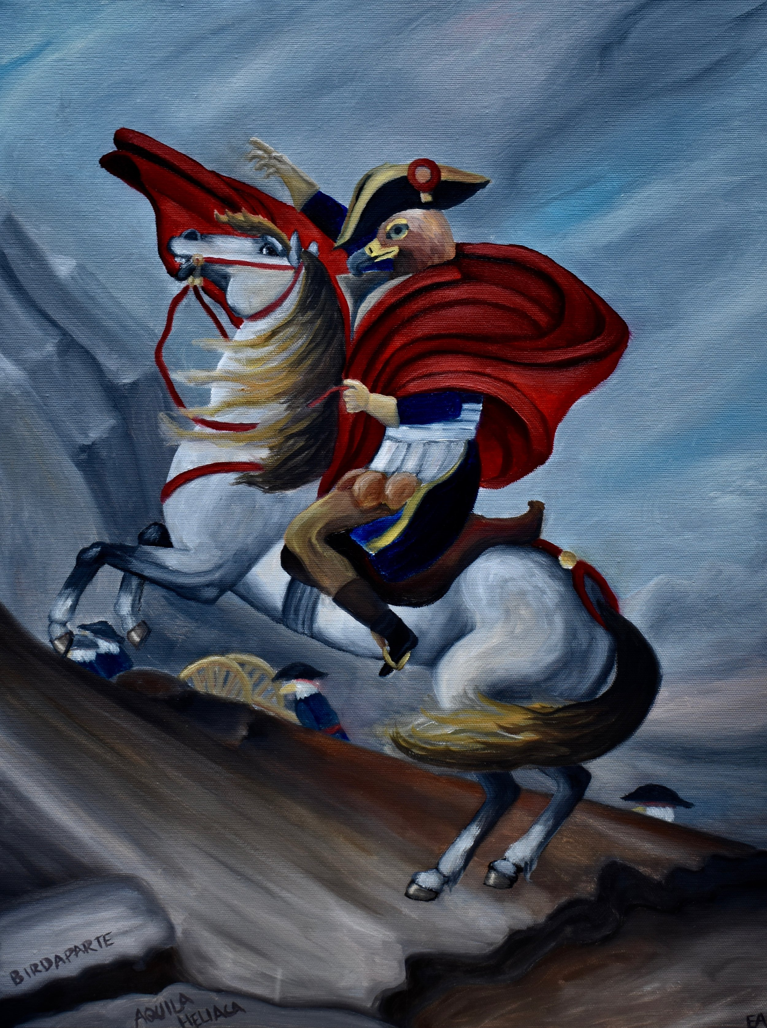 """""""Napoleon Complex"""" 18x24 Oil on Canvas.  Bonaparte assumed the imperial eagle as his avian counterpart and the creature appeared on his coat of arms. His fascination with this bird was most certainly rooted in its association with the powerful Roman Empire. Later, the Nazis also used this bird as a symbol as they plotted their own world domination. Makes me feel rather sorry for the good old imperial eagle, who mostly just likes to be left alone and fed a little hamster snack once in a while.  Painting inspired by: """"Napoleon Crossing the Alps"""" Jacques-Louis David 1801."""