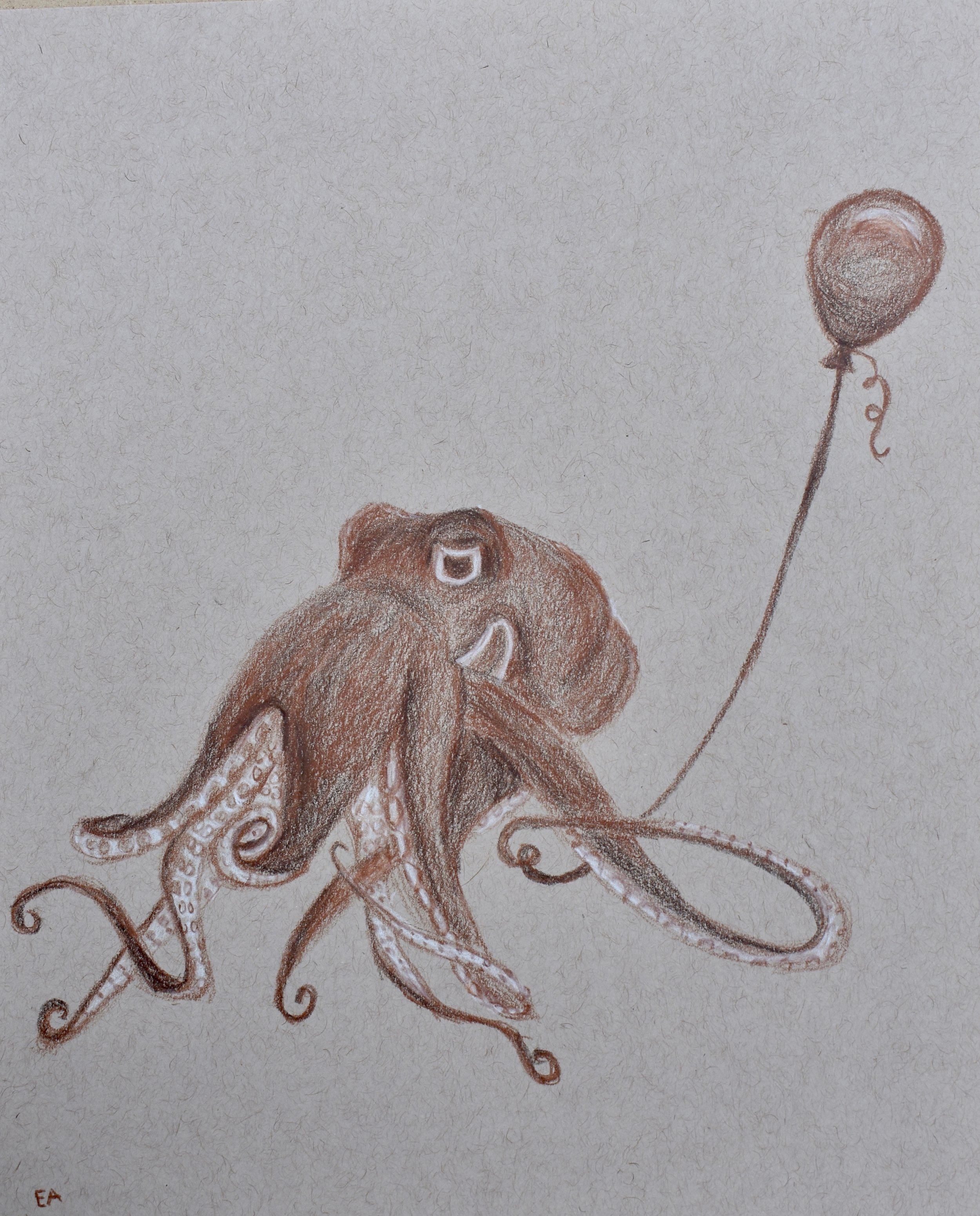 """""""Party Animal"""" 8x10 Prismacolor Pencil on toned paper. SOLD."""