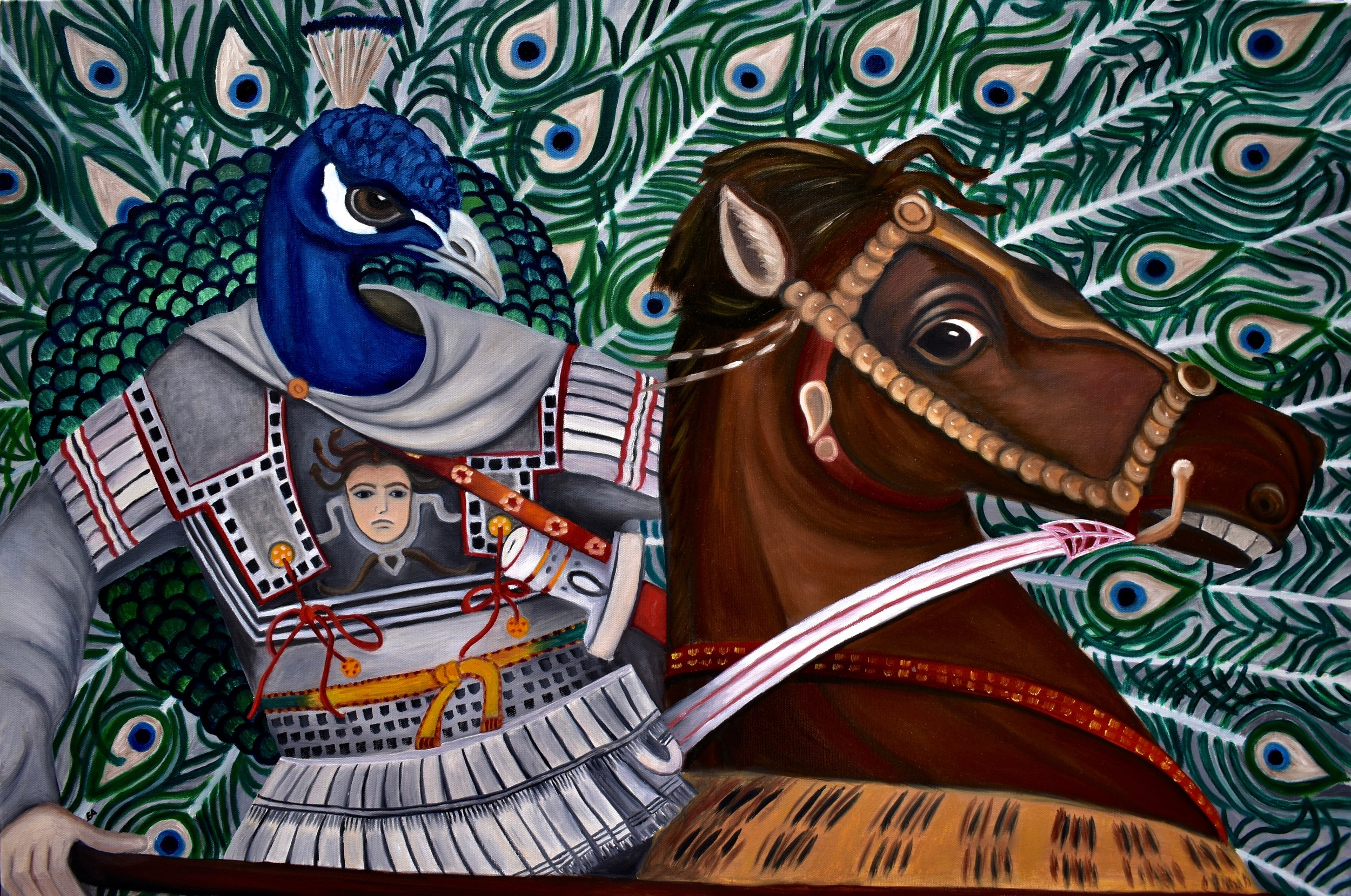 """The Immortal Commander"" 24x36 Oil on Canvas.  When Alexander the Great first discovered the peacock in Persia he was overwhelmed by their beauty. He thought it was a bird worthy of the Gods attention. The peacock feather soon became a symbol of his power.  It is believed by some scholars that Alexander the Great might have been the first to introduce the peacock to Europe. Later the poor peacockbecame popular not only in the courts of Europe as a symbol of royalty, but also as a delicacy. Some even thought that you could become immortal by eating the peacock, as legend told them that the peacock's flesh never rotted.   Painting inspired by: A detail of Alexander and his horse Bucephalus from The Alexander Mosaic, unknown artist, first century AD."