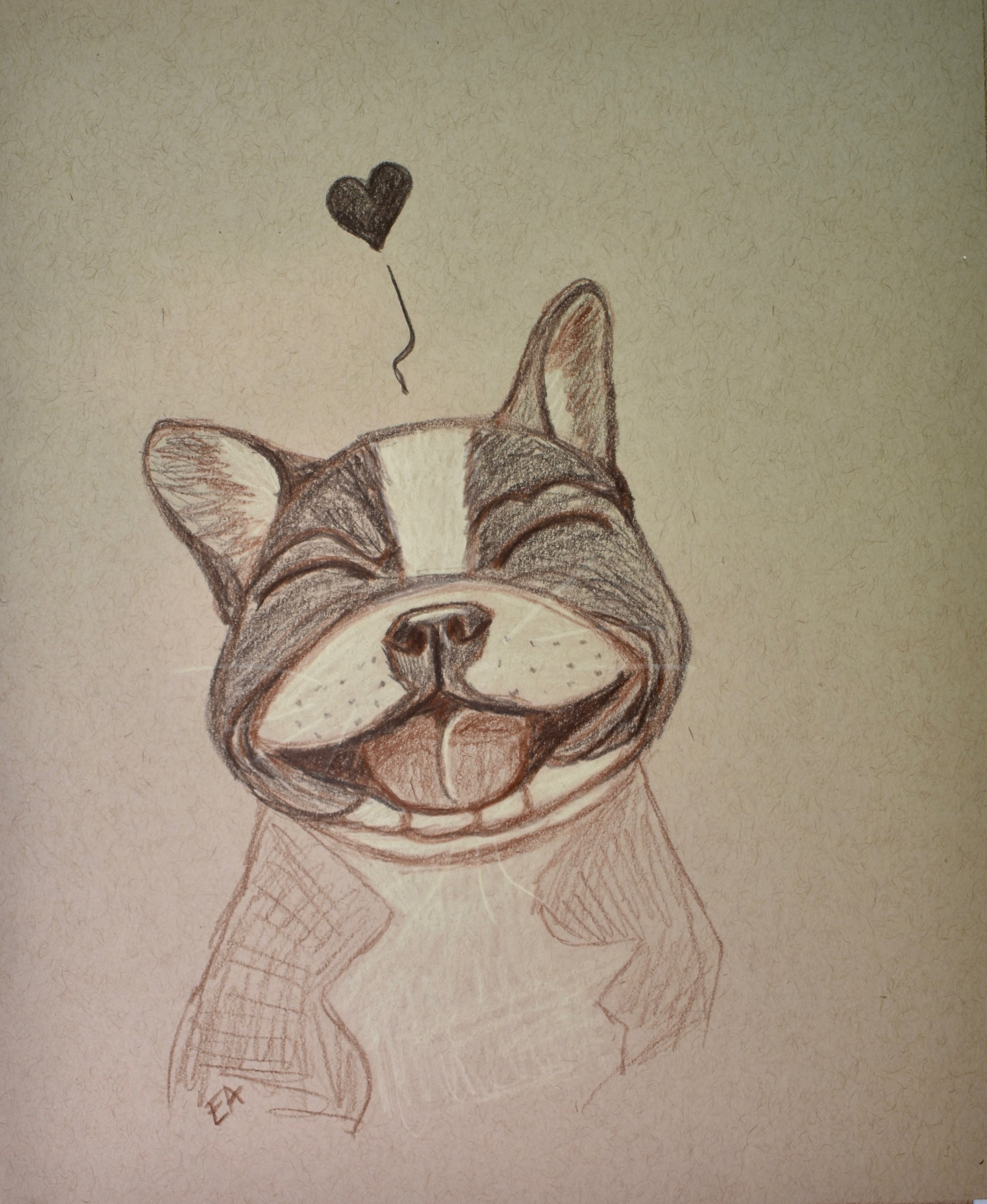 """""""Happy!"""" 8x10 Prismacolor Pencil on toned paper. SOLD."""