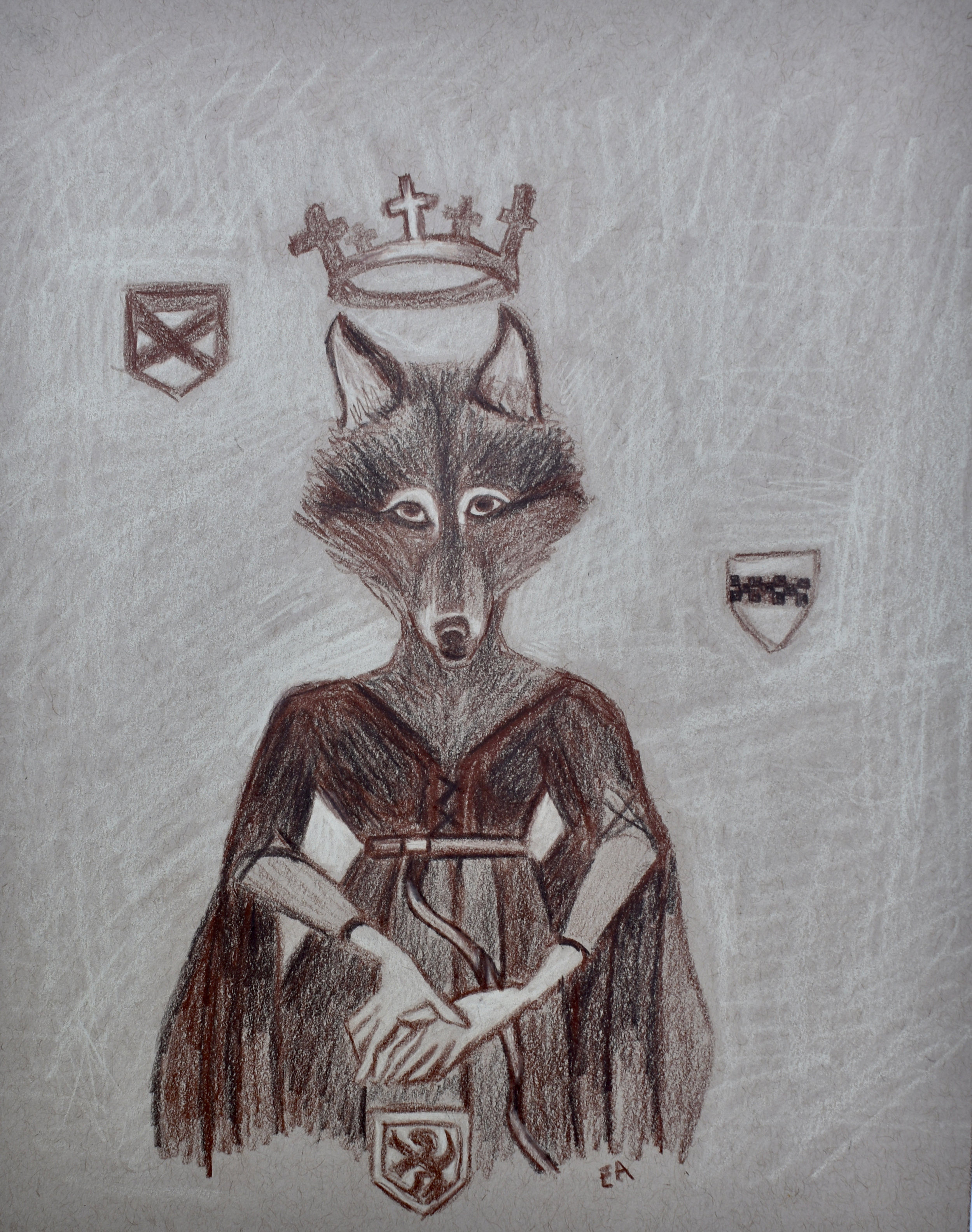 """""""The She Wolf of France"""" (Concept Drawing) 8x10 Prismacolor Pencil on toned paper. SOLD"""