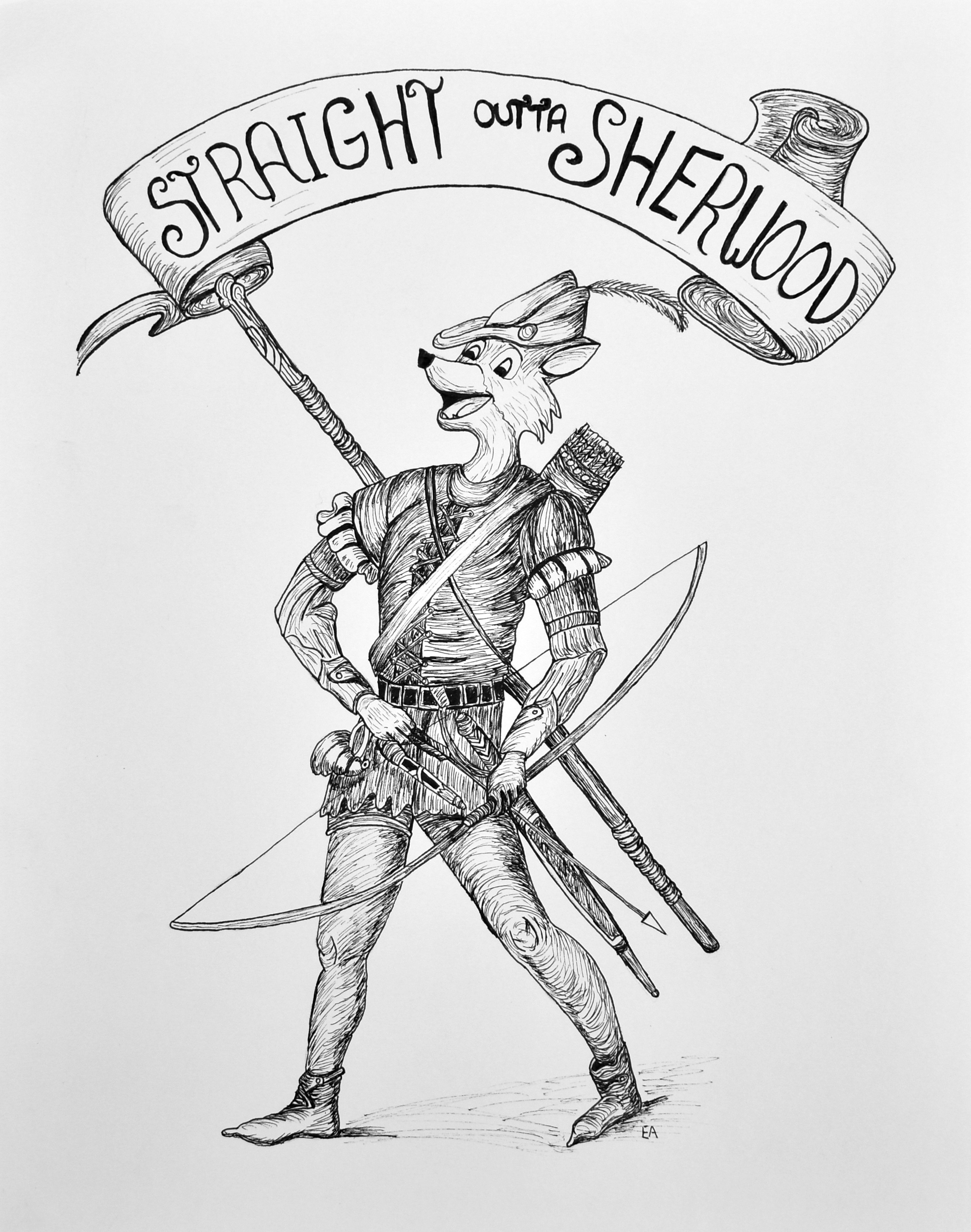 """""""Straight out of Sherwood"""" 11x14 pen on Strathmore 400 series paper."""