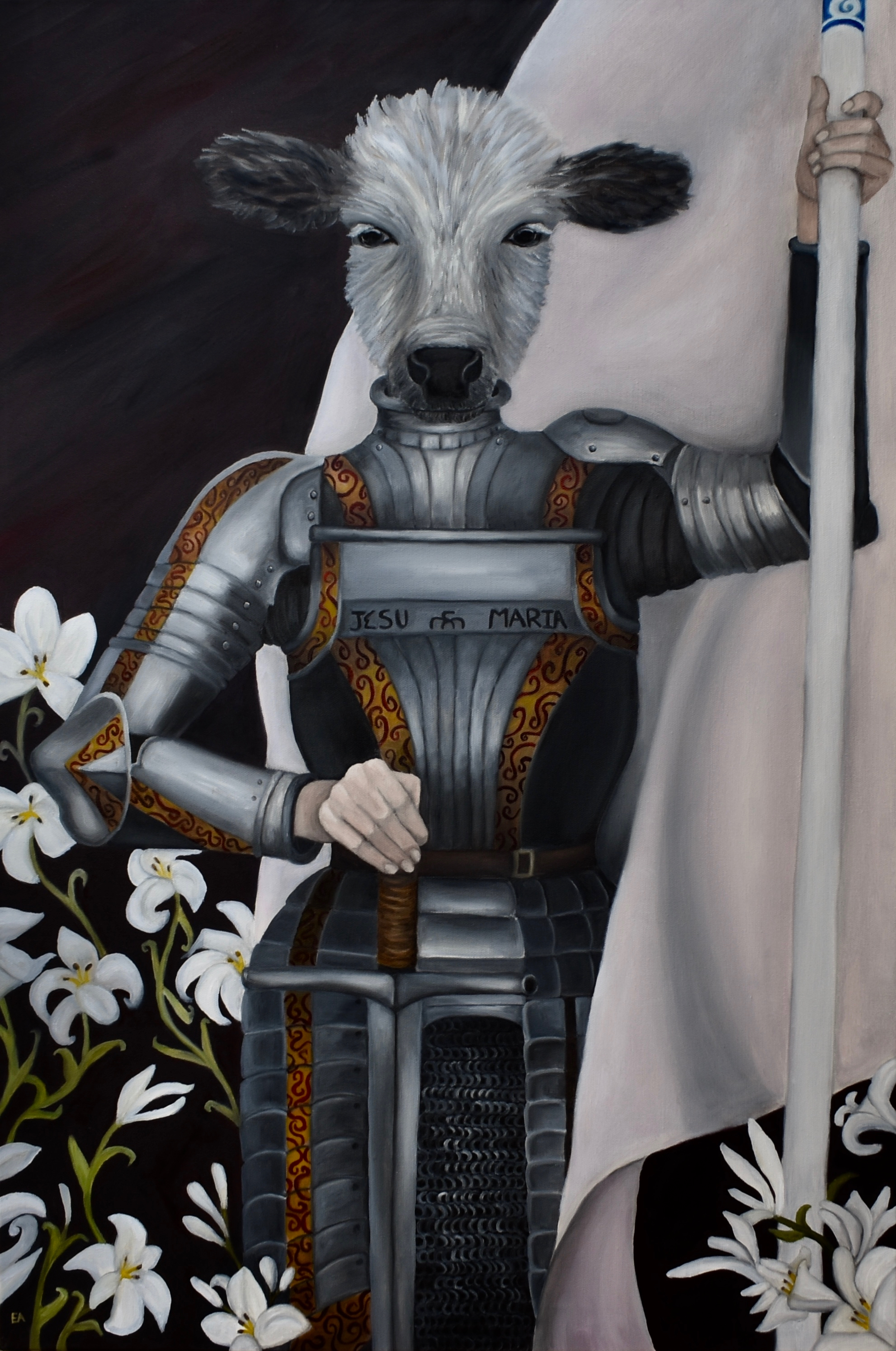 """""""The Maid of Orleans"""" 24x36 oil on canvas.  Joan of Arc (1412-1431), also known as """"The Maid of Orleans,"""" was born a peasant. Her family lived in an isolated area of Eastern France that remained loyal to the French crown during the 100 years war. At 16 Joan claimed to have seen holy visions, instructing her to support Charles Vll of France and help defeat the English. So Joan set out to get an audience with the King and convince him that she could help save France. She succeeded in getting her audience and managed to become a figurehead of the French forces.  It is absolutely astonishing to me that a 16 year old illiterate farm girl was not only able to convince a monarch that God spoke to her, she was able to convince an entire army that God was on their side when she rode with them. Indeed the tide began to turn for the French when Joan came on the scene. For they believed they now had God on their side.  The English despised Joan, it is said that English soldiers would shout """"go back to your cows!"""" with great vitriol when they saw her with her flag on the battlefield. When the English captured Joan in 1430 they set their minds to having her executed. They attempted to charge her with Heresy, but she was suprisingly shrewd in the face of their inquisitions.  The court became frustrated and settled on a cross-dressing charge. Joan had chosen to dress in men's clothing, presumably to protect herself from men. At the time this was an executionable offense. So Joan was burned at the stake and then burned twice more to prove that she was no holy woman. She was 19.  It is interesting to speculate about Joan. Some scholars now say she might have been epileptic or schizophernic. She was prone to outbursts and visions. Things that could be explained away by modern medicine.  Regardless, Joan, a teenage girl who couldn't read or write, a humble girl indeed, managed to convince a king and an entire army that she was a messenger of God. And that's pretty impressive, regardles"""