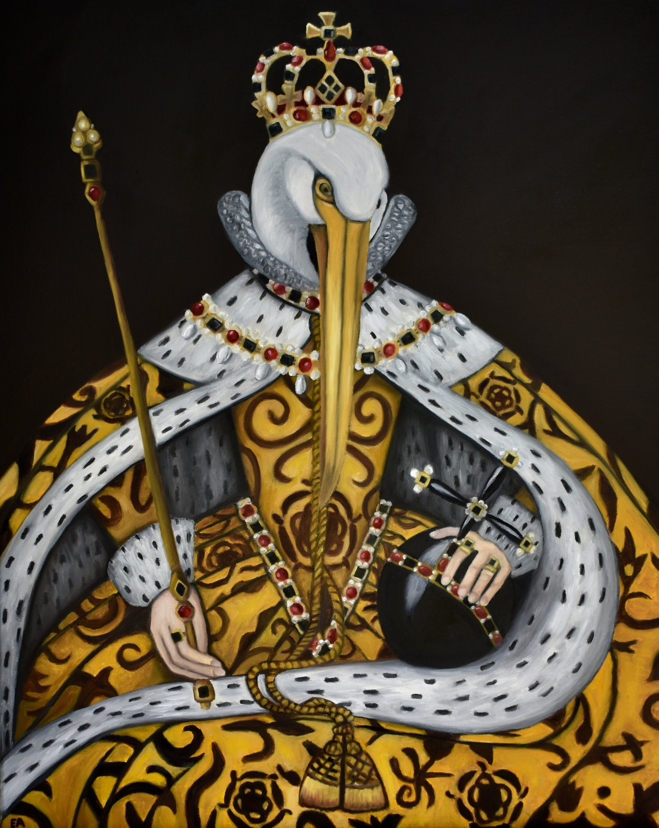 """""""The Queen of Sacrifice"""" 24x30 Oil on Canvas. (Originally created for the """"Birds of War"""" series.  In her portraits Elizabeth I of England (1533-1603) wears all the trappings of royalty--but these decorations are more than just for show. Every stitch and jewel is symbolic. Elizabethan propoganda. Tudor roses decorate the fabric to prove her connection to the Tudors. Pearls symbolize purity. Red, black, white, and gold, prove her wealth and status. Crosses show her connection to God (she was convinced she had a direct line). And, often, a pelican appears on or around her person.  The pelican symbolizes her selfless love for her people, a mother's love, because, according to legend, a female pelican would pluck her own breast to feed her dying young with her own blood. The pelican was also a symbol, in the Middle Ages, of Jesus' crucifixion, the ultimate sacrifice, and of the Eucharist. The bird to represent the queen, then, was an easy choice.  However, the choice of the Queen to represent England was not always so easy. Elizabeth's mother, Anne Boleyn, was famously beheaded and her marriage to King Henry VIII annulled. Elizabeth was the last of Henry's line remaining after her elder sister Mary Tudor died. But many proclaimed that, because of Elizabeth's illegitimacy that her distant cousin Mary Stuart was the true heir to the throne.  In the midst of all these legitimacy claims there was the larger problem of religion. Elizabeth was a Protestant and Mary a Catholic. Religious wars were boiling all over Europe and the ruler of the British Empire was a big prize.  In the end, as you may already know, Elizabeth won the prize. Ultimately this win was due to her council of advisors that ran the Elizabethan propaganda machine. Every downfall they turned into a win. The childless illegitimate bastard transformed into a virgin queen chosen by God. Voila. The moral of this story is: always keep good council.  Painting inspired by """"Queen Elizabeth I in Coronation Robes"""" Unkno"""