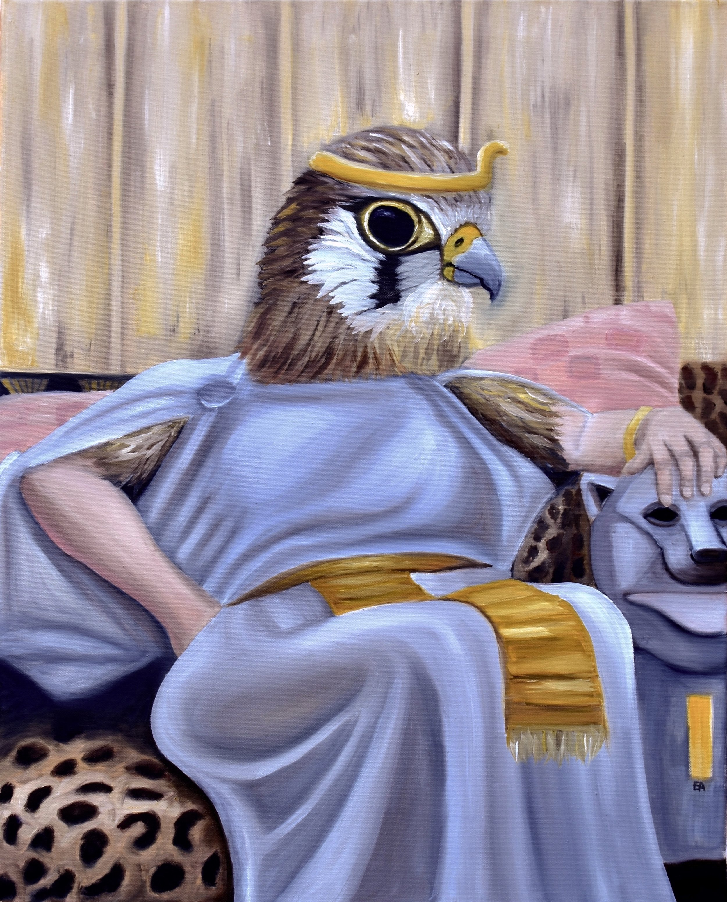 """The Great Lady of Perfection"" 24x30 Oil on Canvas.  The common kestrel was a bird revered by the Egyptians. The small falcon represented their major god Horus and was said to protect their royal sons and daughters. The bird was bred by the Egyptian people. Fed to death with little mice and then mummified and sacrificed to the gods. The falcon appears in the hieroglyphics that spell out Cleopatra's name. Protection for ""the great lady of perfection.""  Painting inspired by: ""Cleopatra"" John Williams Waterhouse 1888"