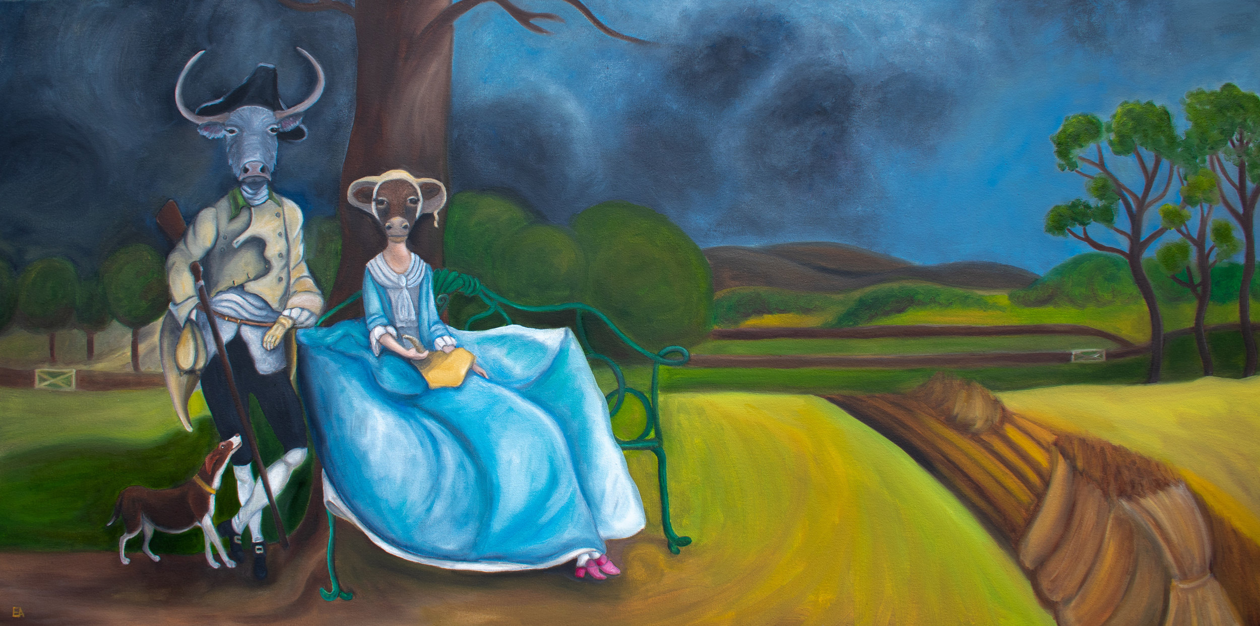 """""""Mr and Mrs Andrews"""" inspired by the Thomas Gainsborough painting (1750)."""