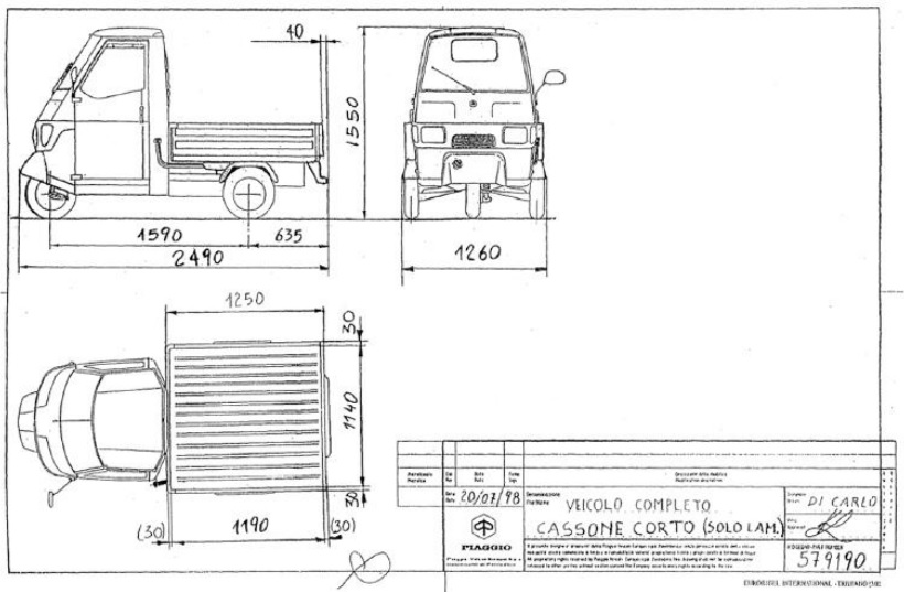 Base for Box model - Ape 50 Long deck version.