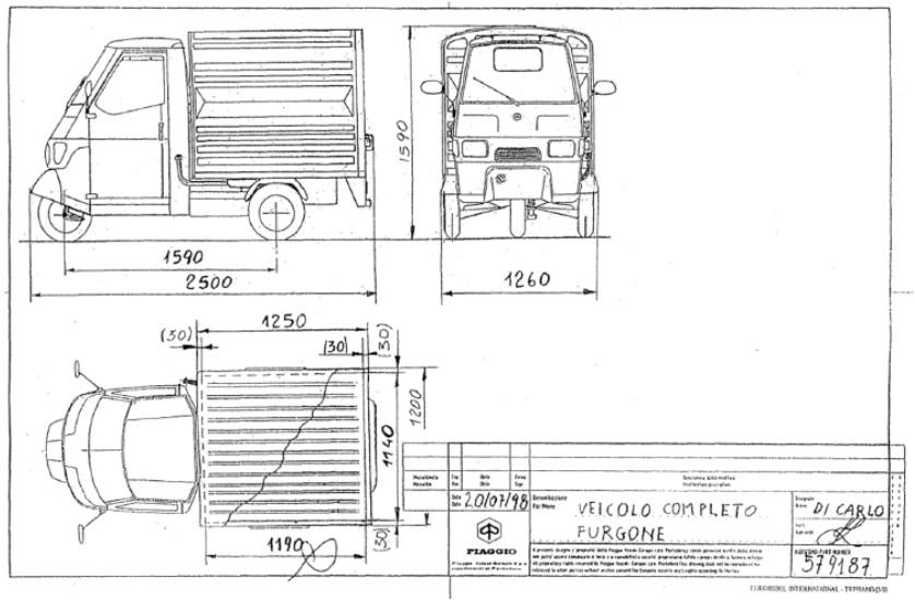 Base for Chassis model - Ape 50 Van version.