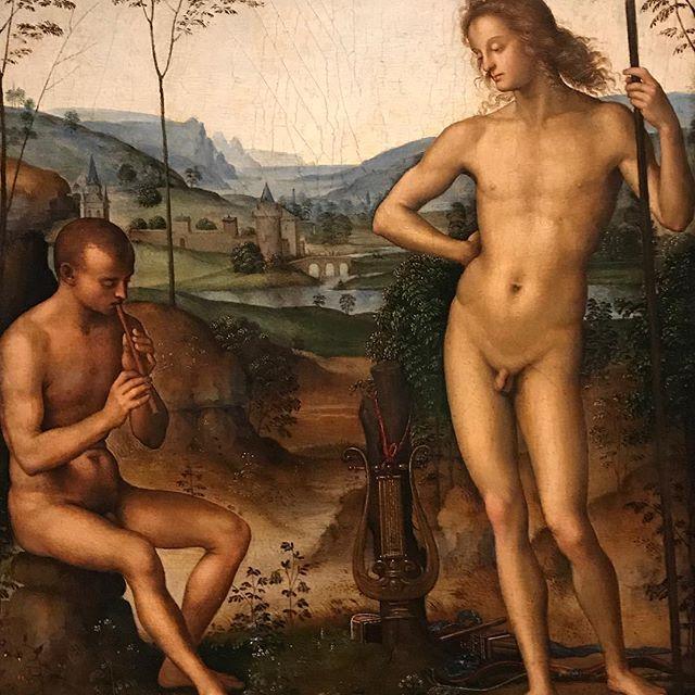 Homosexuality in art: Pietro Perugino, Apollo and Daphnis, 1495 (Daphnis is considered to be the creator of pastoral poetry) #homosexuality #homosexualityinart  #pietroperugino @royalacademyarts #gay #renaissance #cinquecento