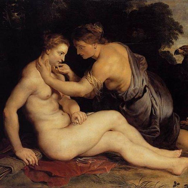 Artemis and Callisto (Zeus desguised in Artemis), Rubens, 1611-13, 202x305cm. #baroque #homosexualityinart #rubens #mythology #artemis #callisto #zeus
