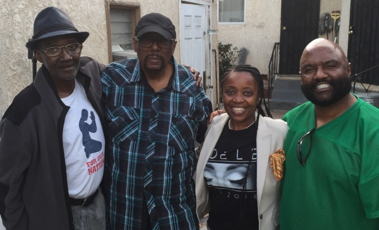 Wrapping up a recording session at James Gadson's studio.  Pictured from left to right:  Leanard Jackson, James Gadson, Latrice McGlothin, and Mike Nash.