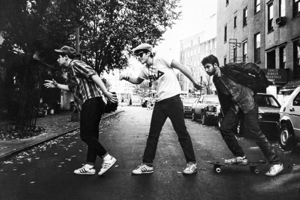 """From left: Ad-Rock, Mike D and MCA in an image known as the """"Charles Street Shuffle,"""" during Powell's first official shoot with the Beastie Boys for the   East Village Eye  in 1986. Photo by Ricky Powell."""