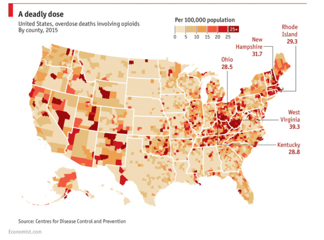 Concentration of Opioid Deaths by US County