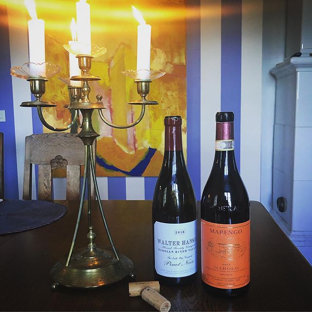 Kick startin' hols like ☝️🙌 Walter Hansel Pinot Noir south slope 2016 and Marengo Barolo Brunate 2015. Spin for the win.👅💥🍷 #walterhansel #pinotnoir #russianriver #sonoma #marengo #brunate #barolo
