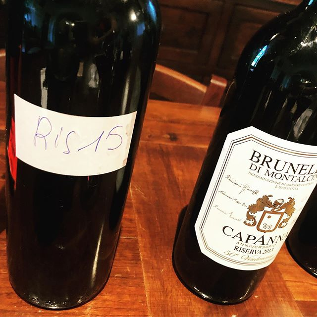Unreleased Capanna Riserva 2015. And Capanna Riserva 2013, voted best red wine in Italy 🇮🇹. Kick this startin Friday.