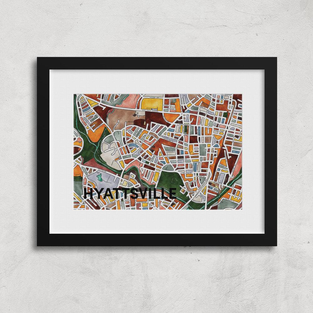 Hyattsville Neighborhood Map Art Print
