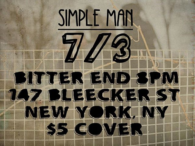 @thebitterendnyc WEDNESDAY 7.3 - 8p - $5 cover. See you there!!!