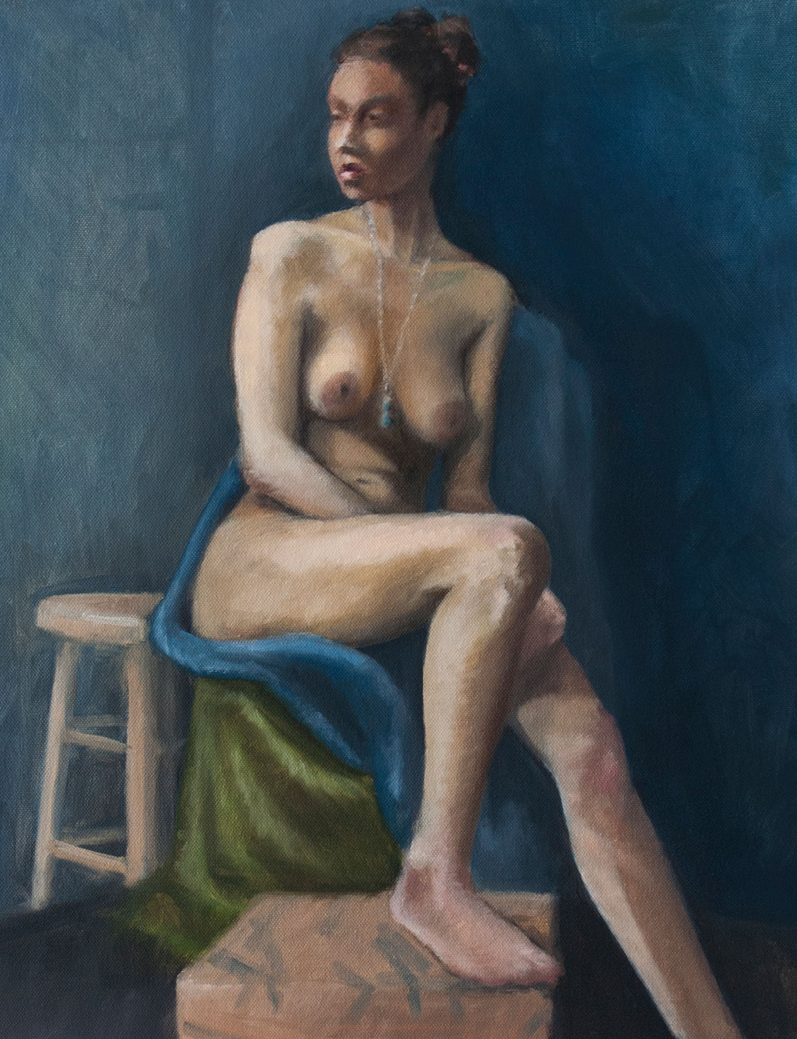 2016, Figure study.   Oil on canvas, 16 x 20 in. (41 x 51cm)