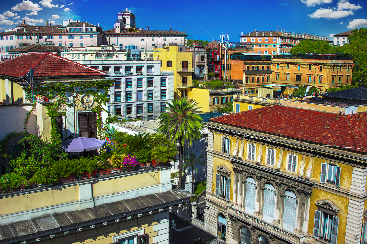 Rooftop view Rome Glam Hotel