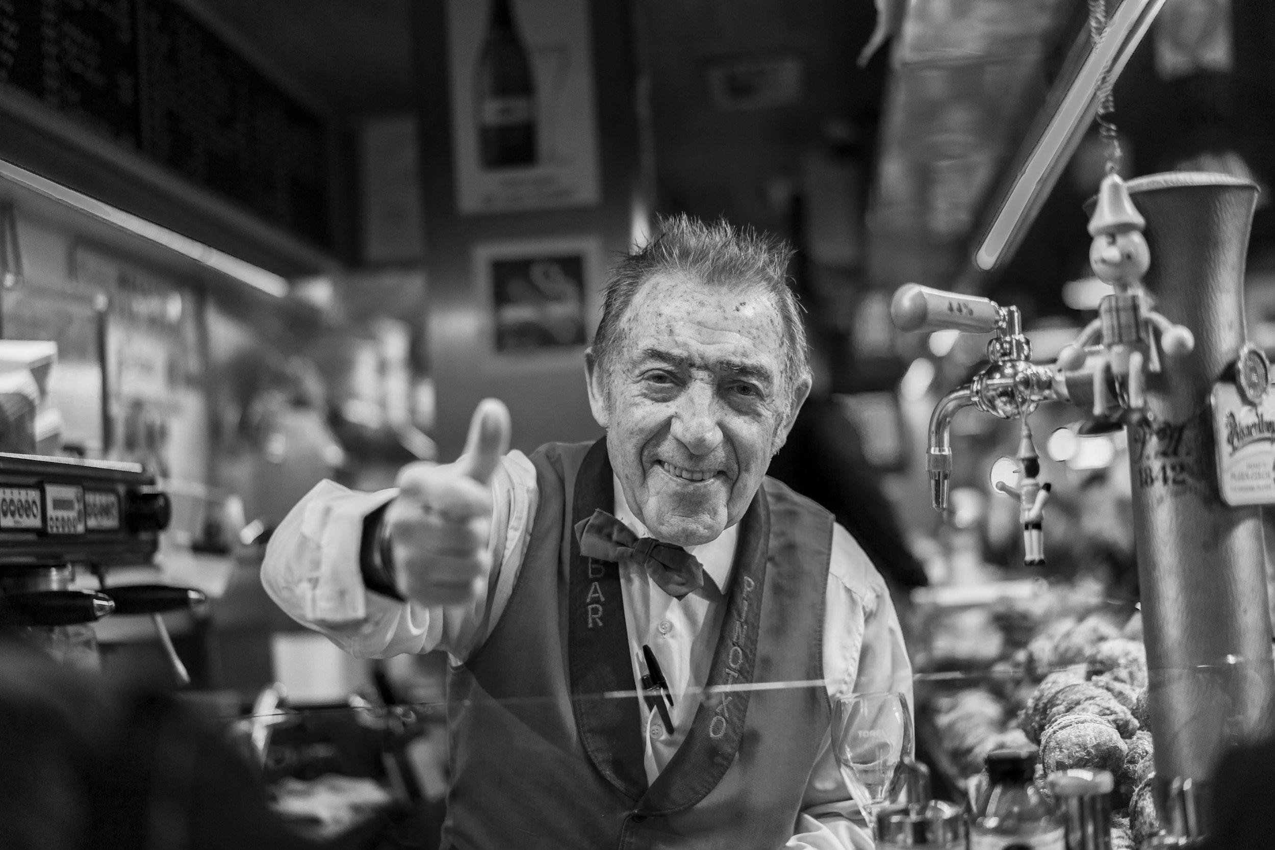 The always smiling Juanito at El Pinotxo bar